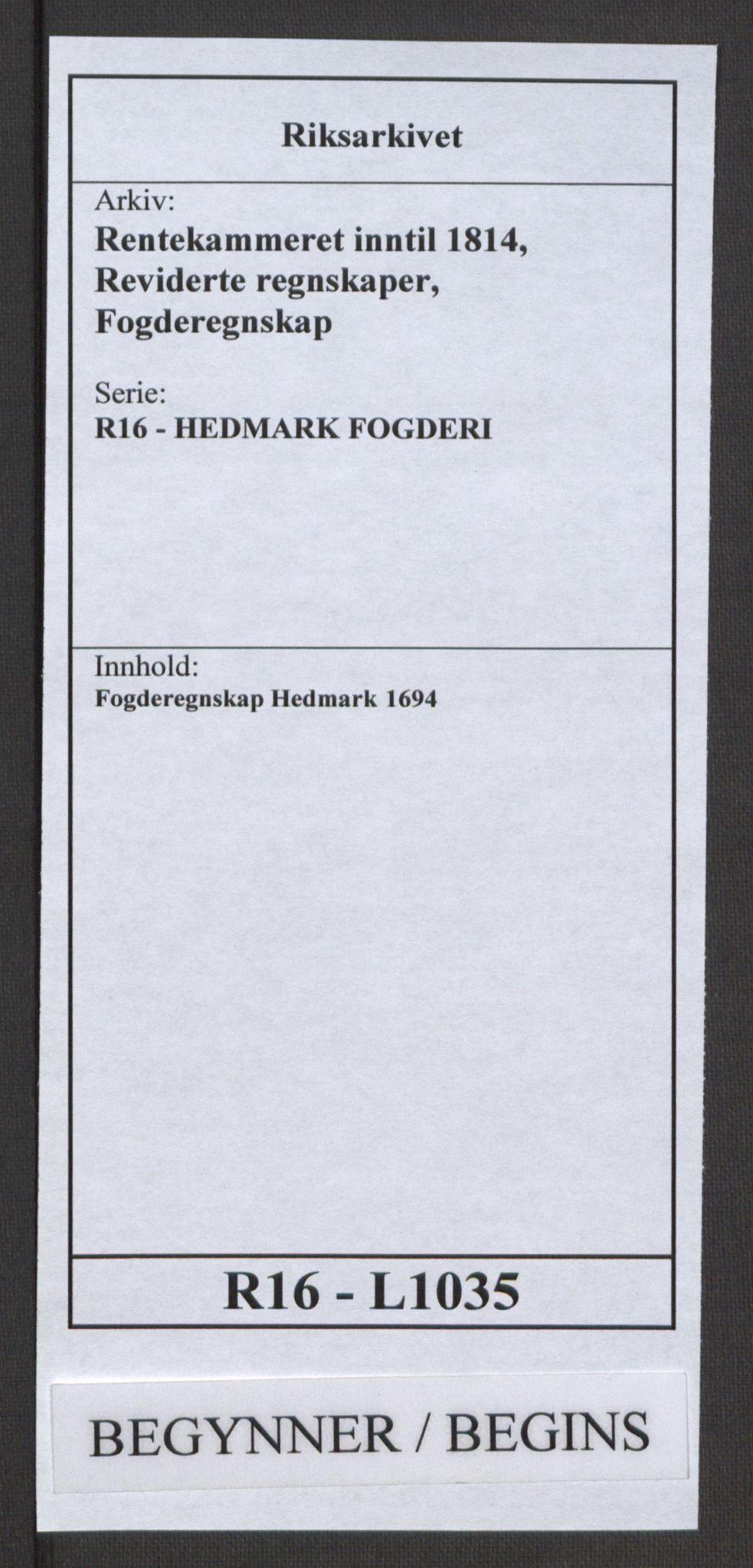 RA, Rentekammeret inntil 1814, Reviderte regnskaper, Fogderegnskap, R16/L1035: Fogderegnskap Hedmark, 1694, s. 1