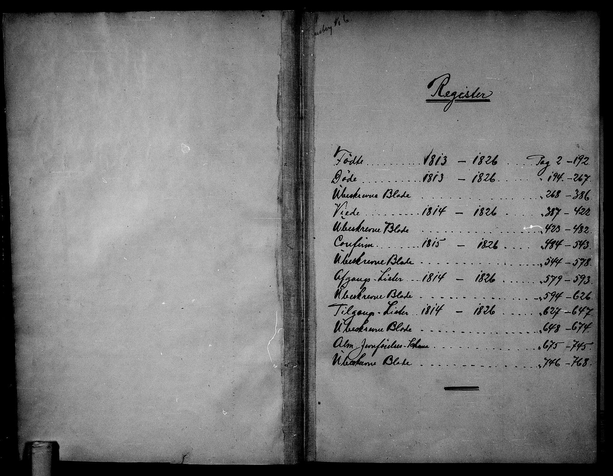 SAKO, Tønsberg kirkebøker, G/Ga/L0001: Klokkerbok nr. 1, 1813-1826