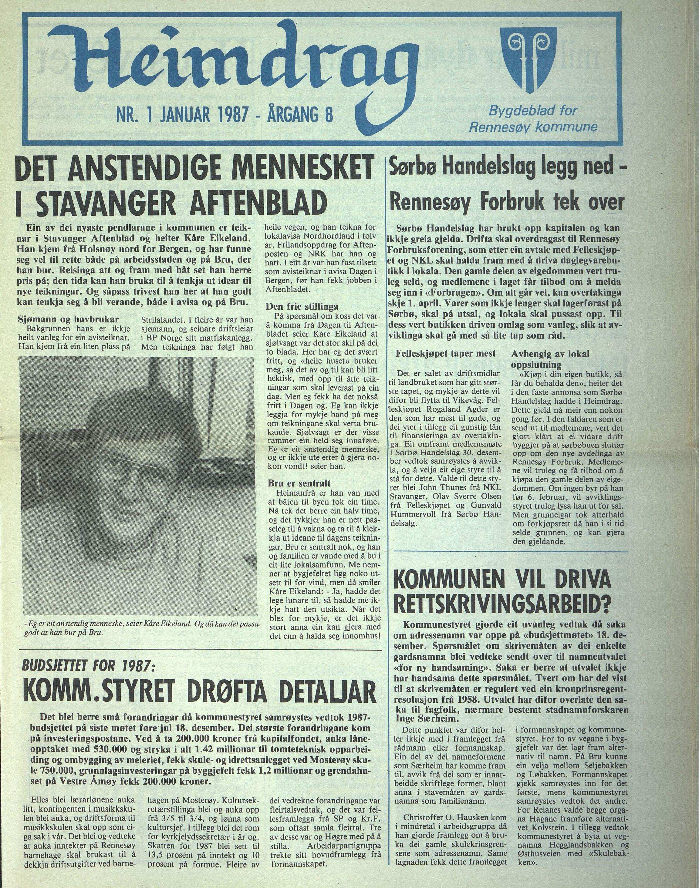 BYST, Rennesøy kommune. Heimdrag, lokalavis, X/Xa/L0009: Heimdrag 1987, 1987