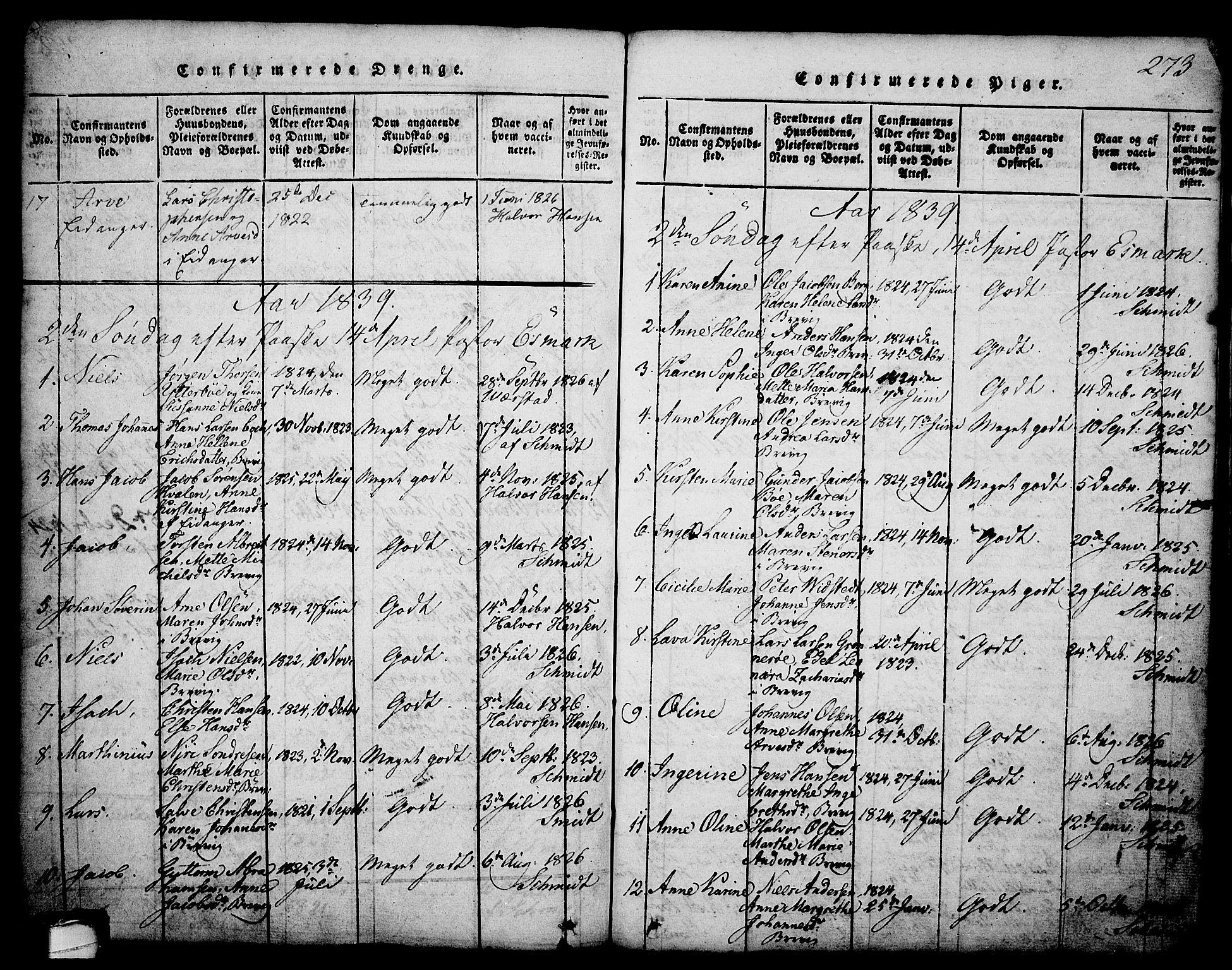 SAKO, Brevik kirkebøker, G/Ga/L0001: Klokkerbok nr. 1, 1814-1845, s. 273