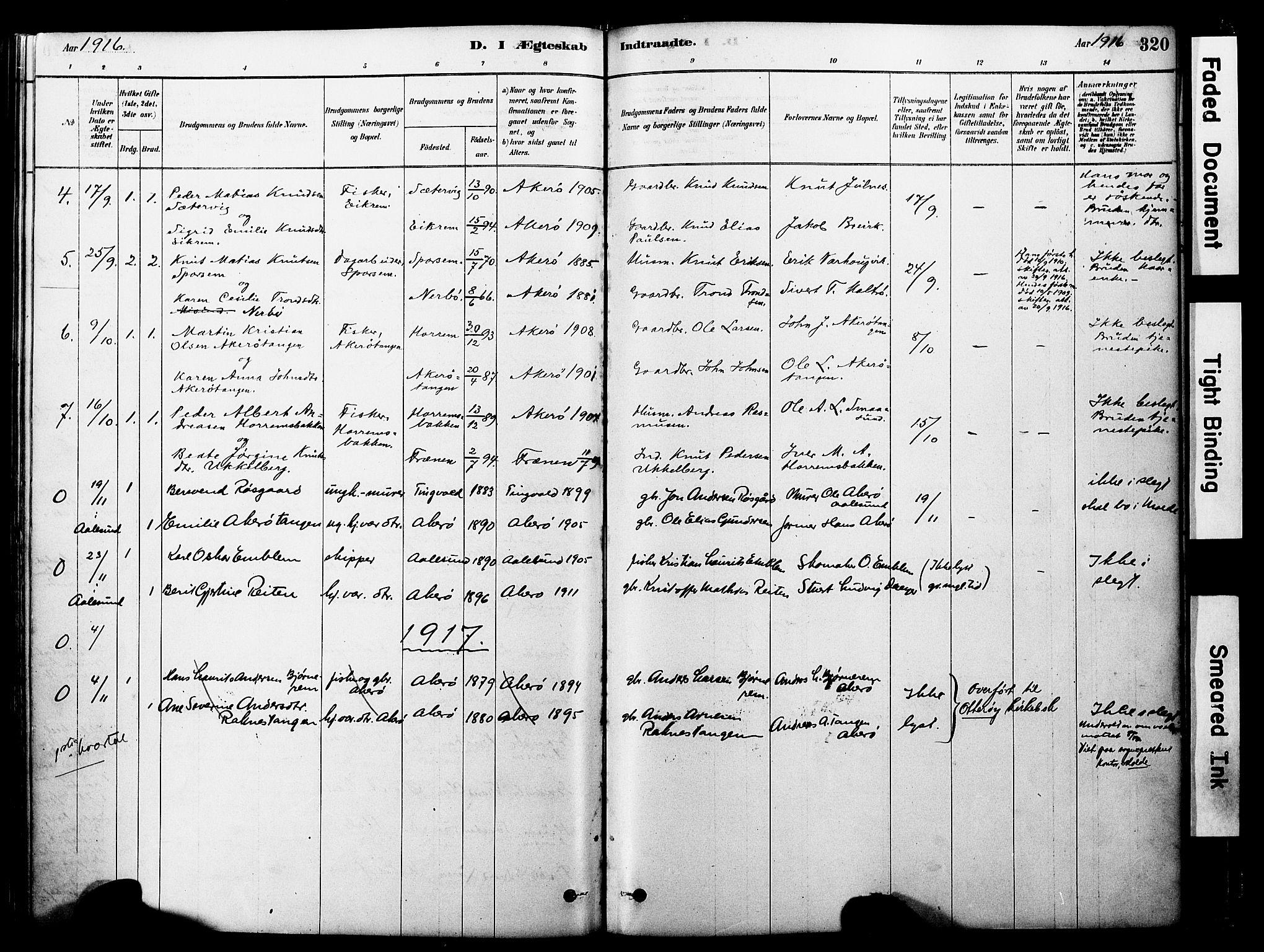 SAT, Ministerialprotokoller, klokkerbøker og fødselsregistre - Møre og Romsdal, 560/L0721: Ministerialbok nr. 560A05, 1878-1917, s. 320