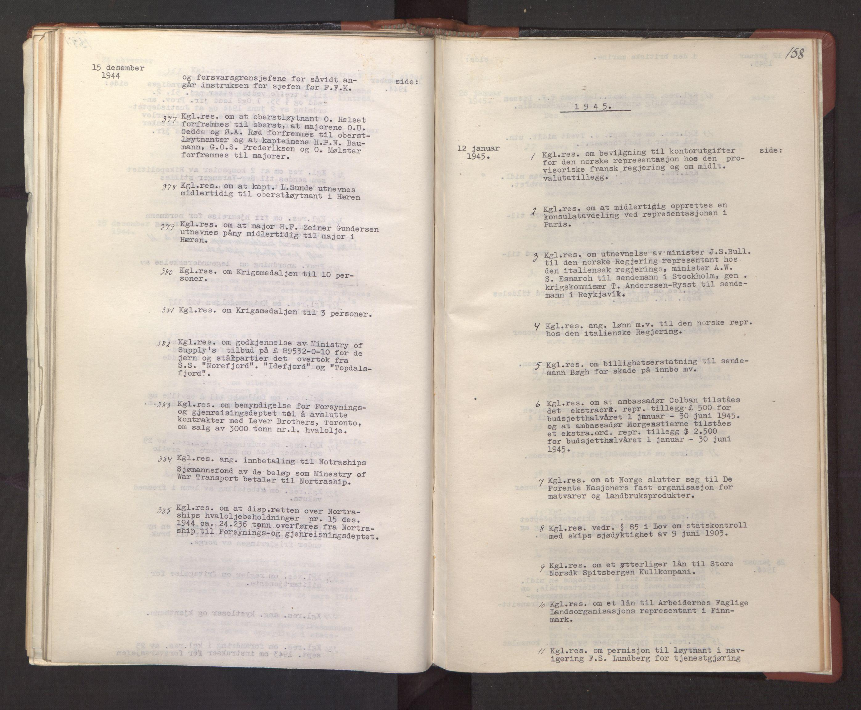 RA, Statsrådssekretariatet, A/Ac/L0127: Register 9/4-25/5, 1940-1945, s. 158
