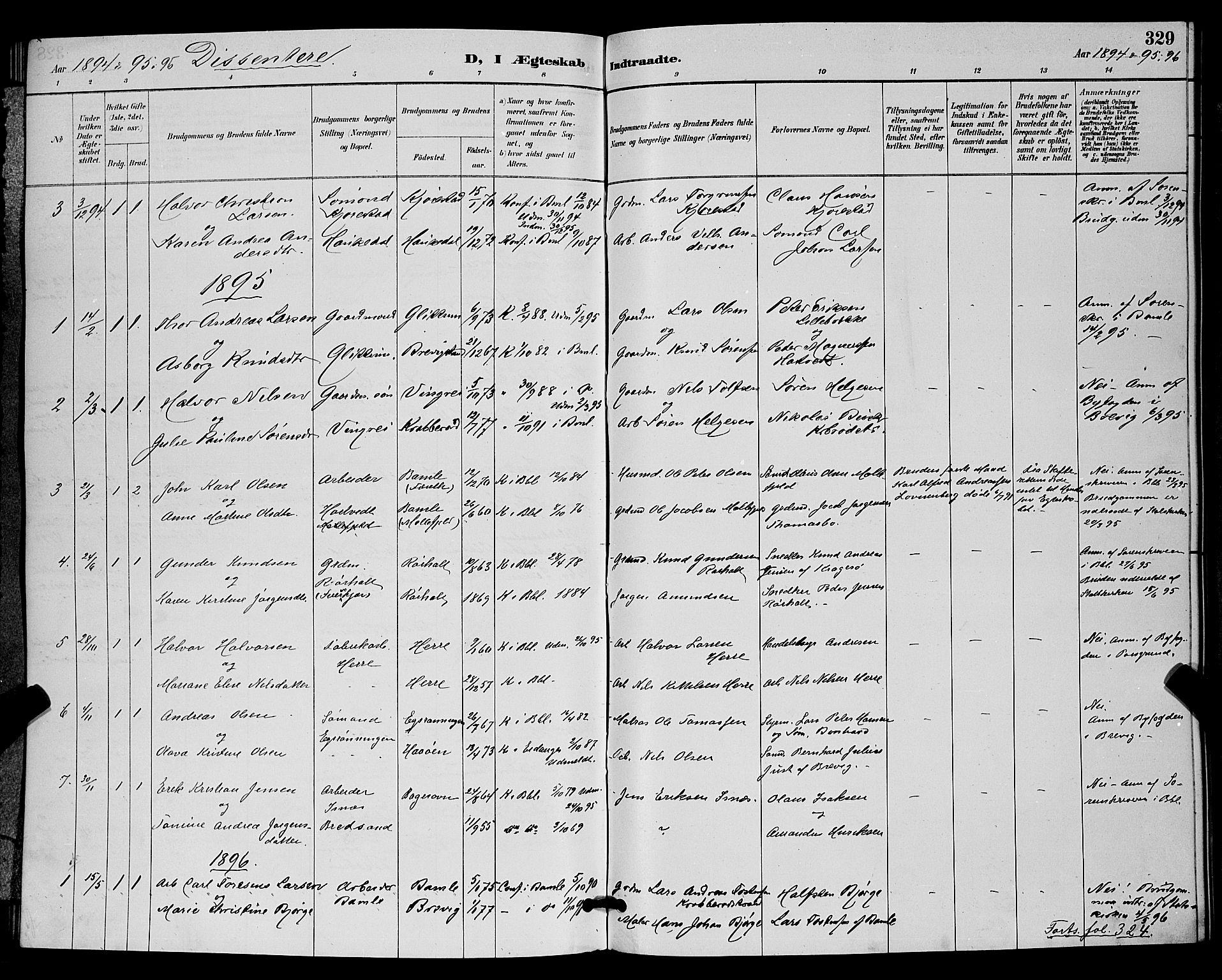 SAKO, Bamble kirkebøker, G/Ga/L0009: Klokkerbok nr. I 9, 1888-1900, s. 329