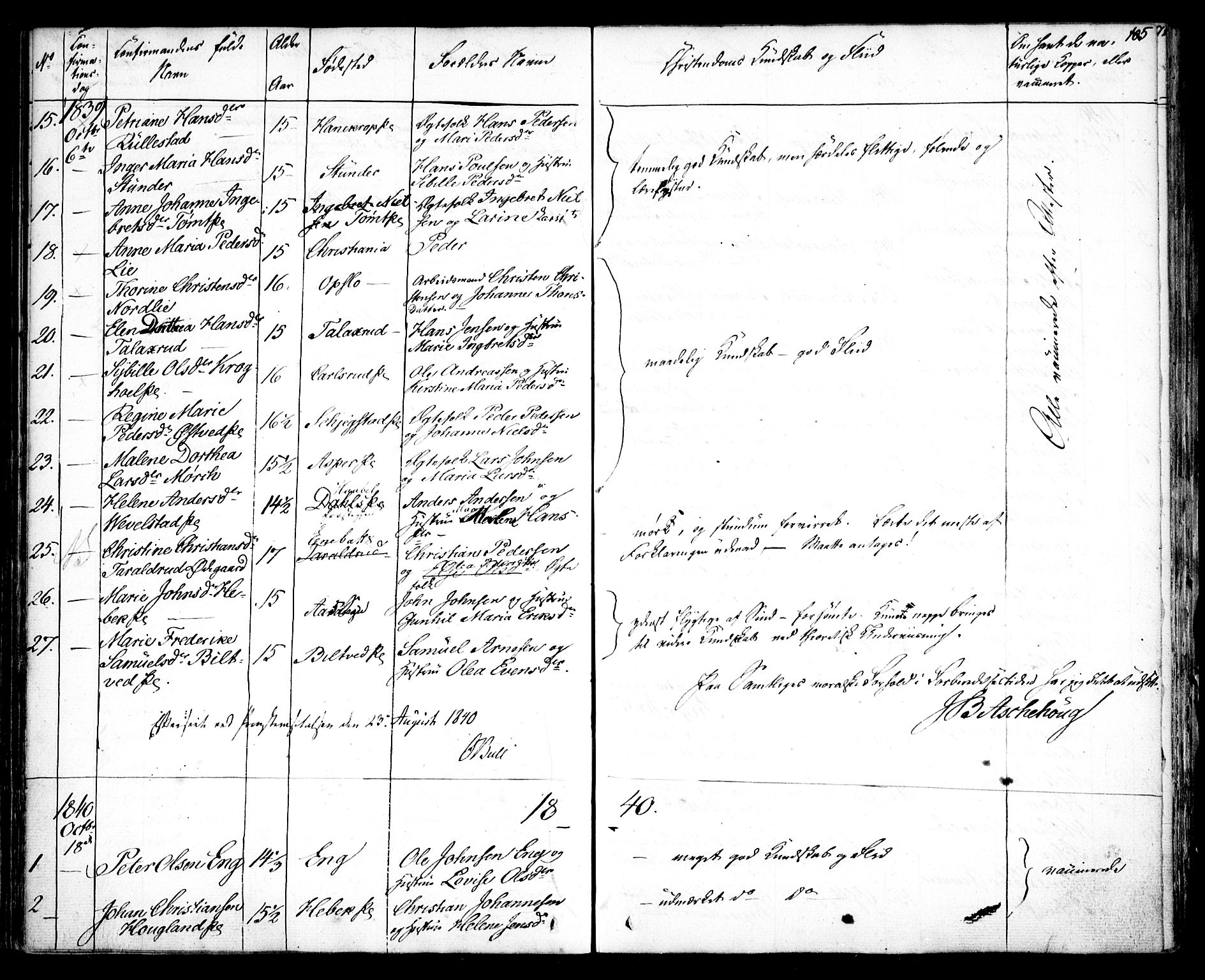 SAO, Kråkstad prestekontor Kirkebøker, F/Fa/L0005: Ministerialbok nr. I 5, 1837-1847, s. 105