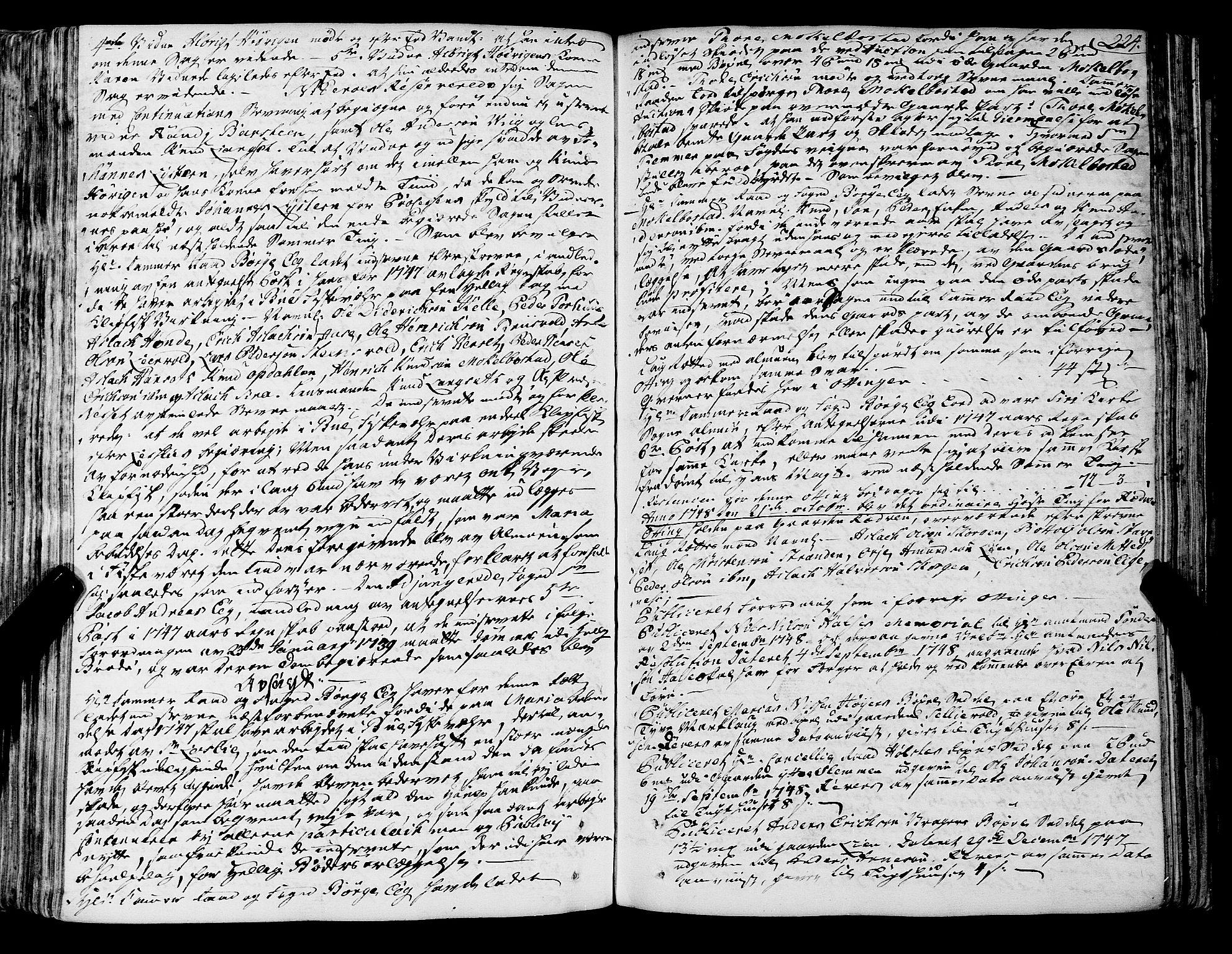 SAT, Romsdal sorenskriveri, 1/1A/L0012: Tingbok, 1740-1749, s. 224b-225a