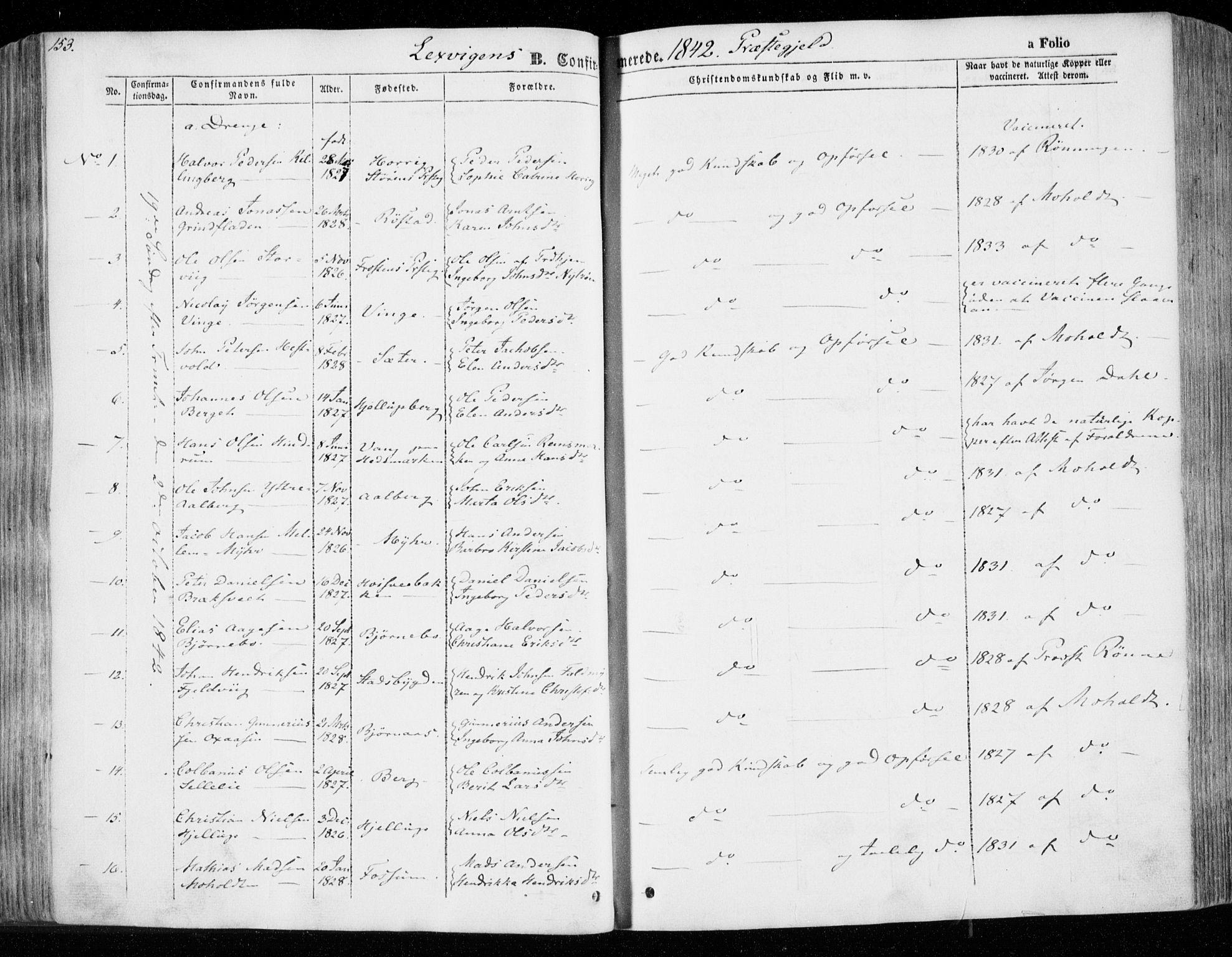 SAT, Ministerialprotokoller, klokkerbøker og fødselsregistre - Nord-Trøndelag, 701/L0007: Ministerialbok nr. 701A07 /1, 1842-1854, s. 153