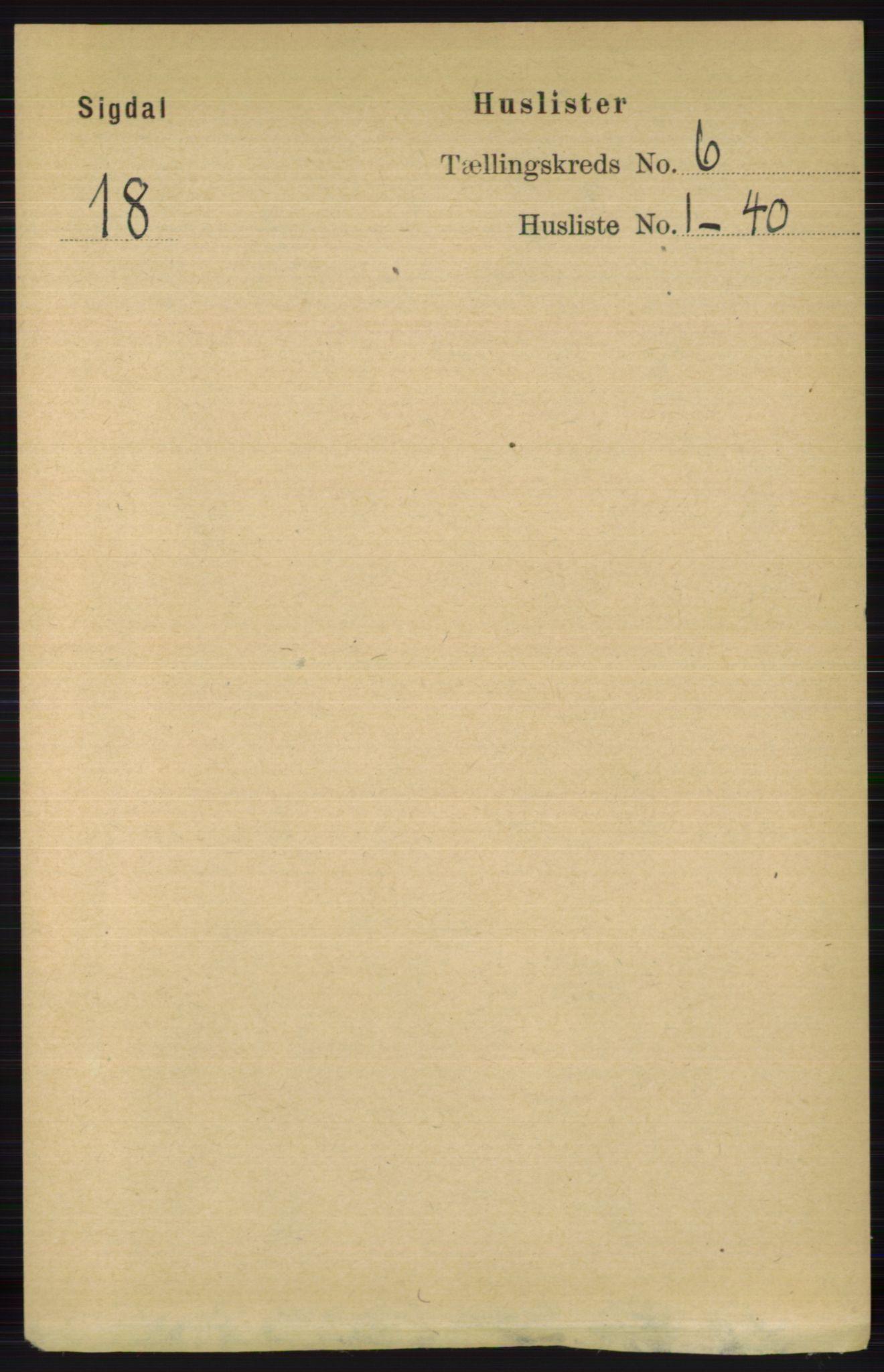 RA, Folketelling 1891 for 0621 Sigdal herred, 1891, s. 2380
