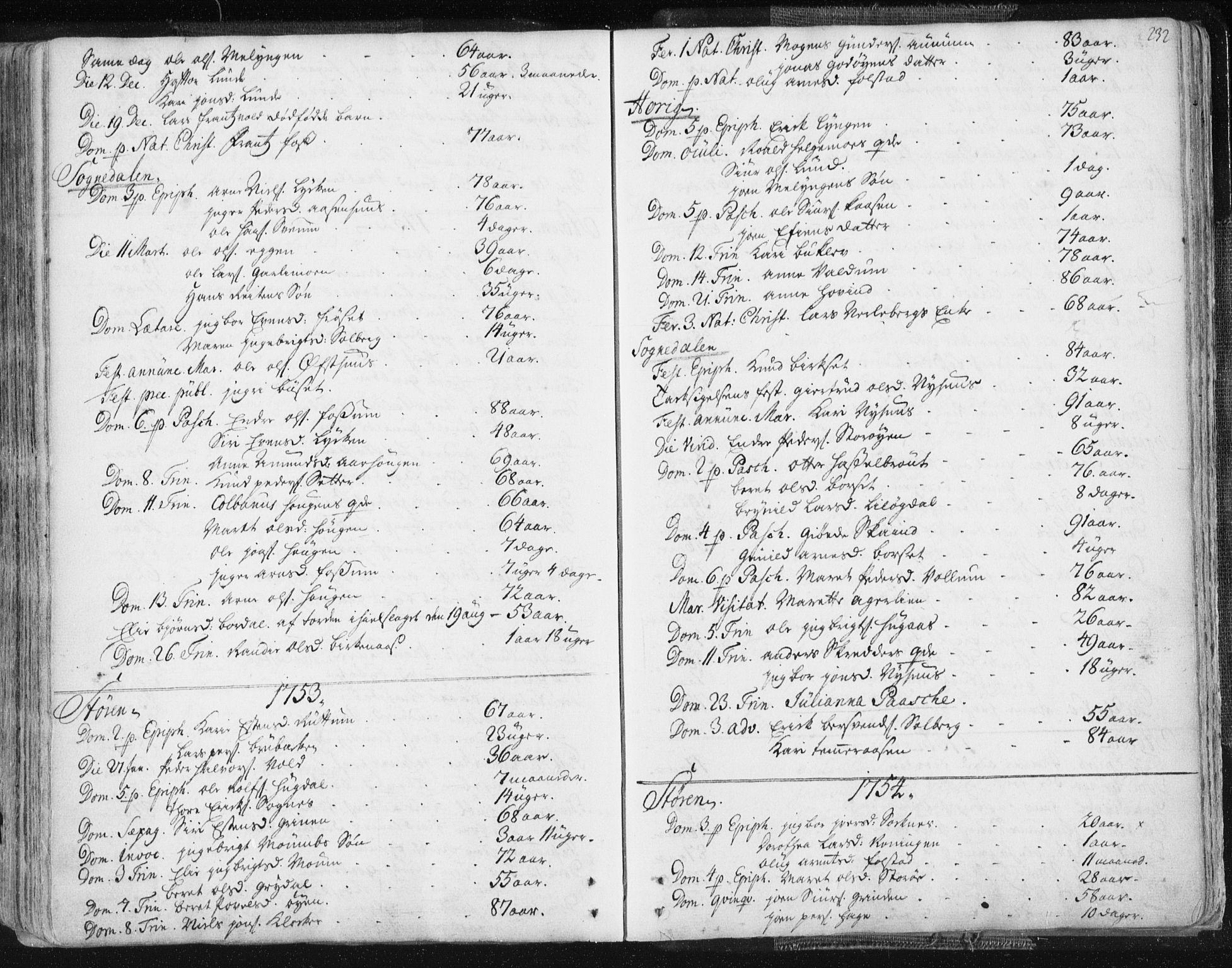 SAT, Ministerialprotokoller, klokkerbøker og fødselsregistre - Sør-Trøndelag, 687/L0991: Ministerialbok nr. 687A02, 1747-1790, s. 232