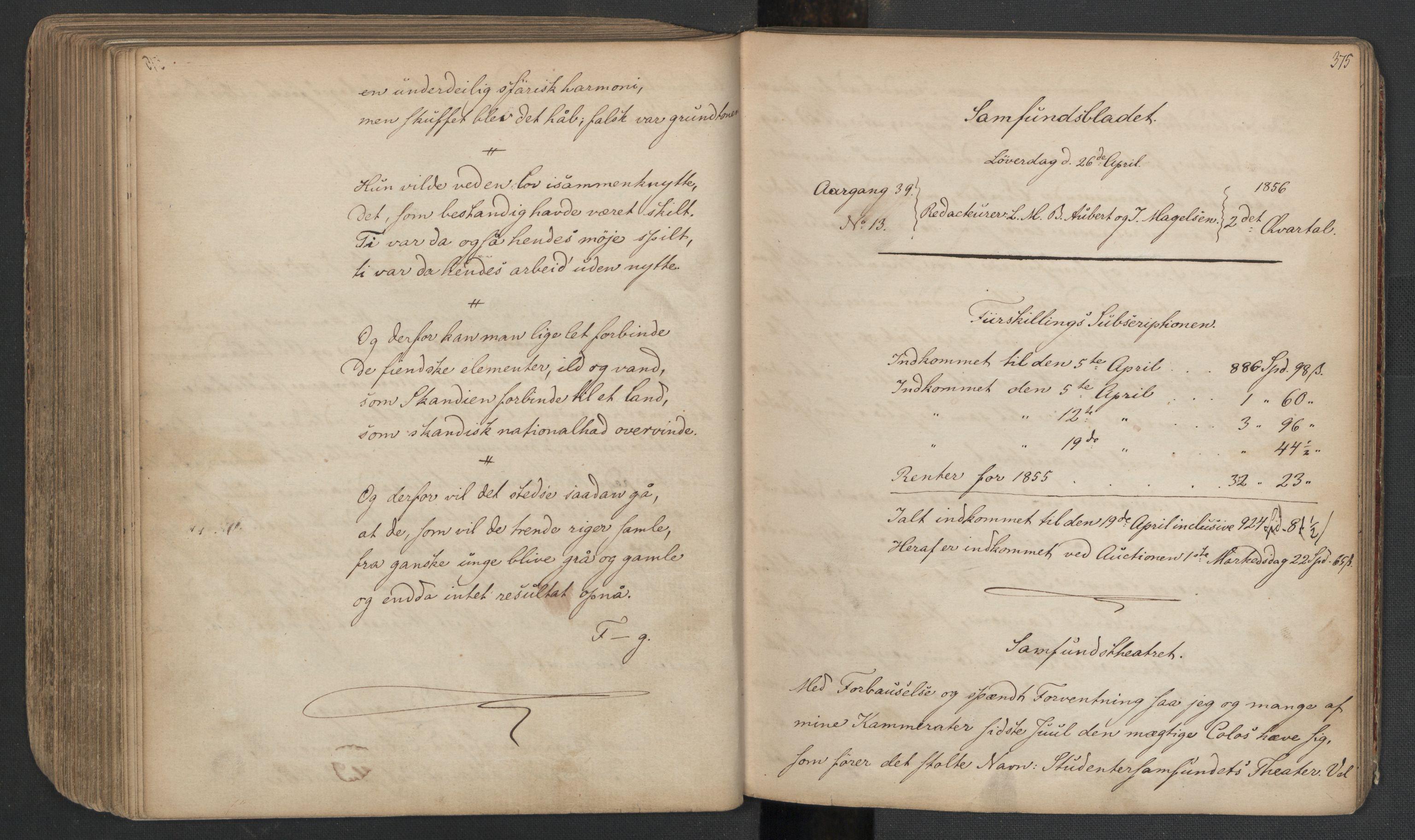 RA, Det Norske Studentersamfund, X/Xa/L0005, 1855-1856, s. 190