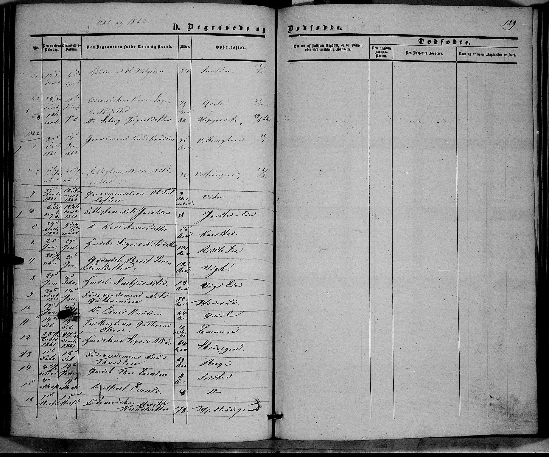 SAH, Vestre Slidre prestekontor, Ministerialbok nr. 2, 1856-1864, s. 189