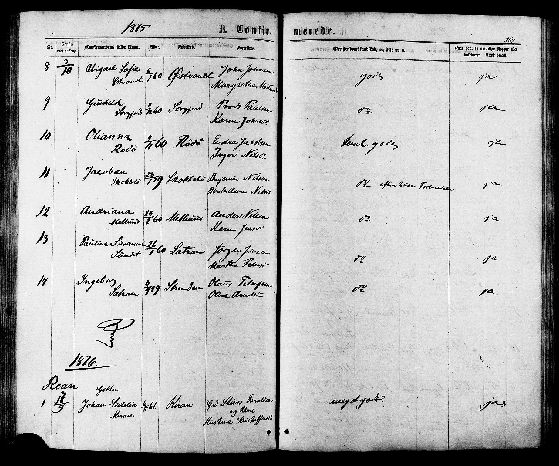 SAT, Ministerialprotokoller, klokkerbøker og fødselsregistre - Sør-Trøndelag, 657/L0706: Ministerialbok nr. 657A07, 1867-1878, s. 267