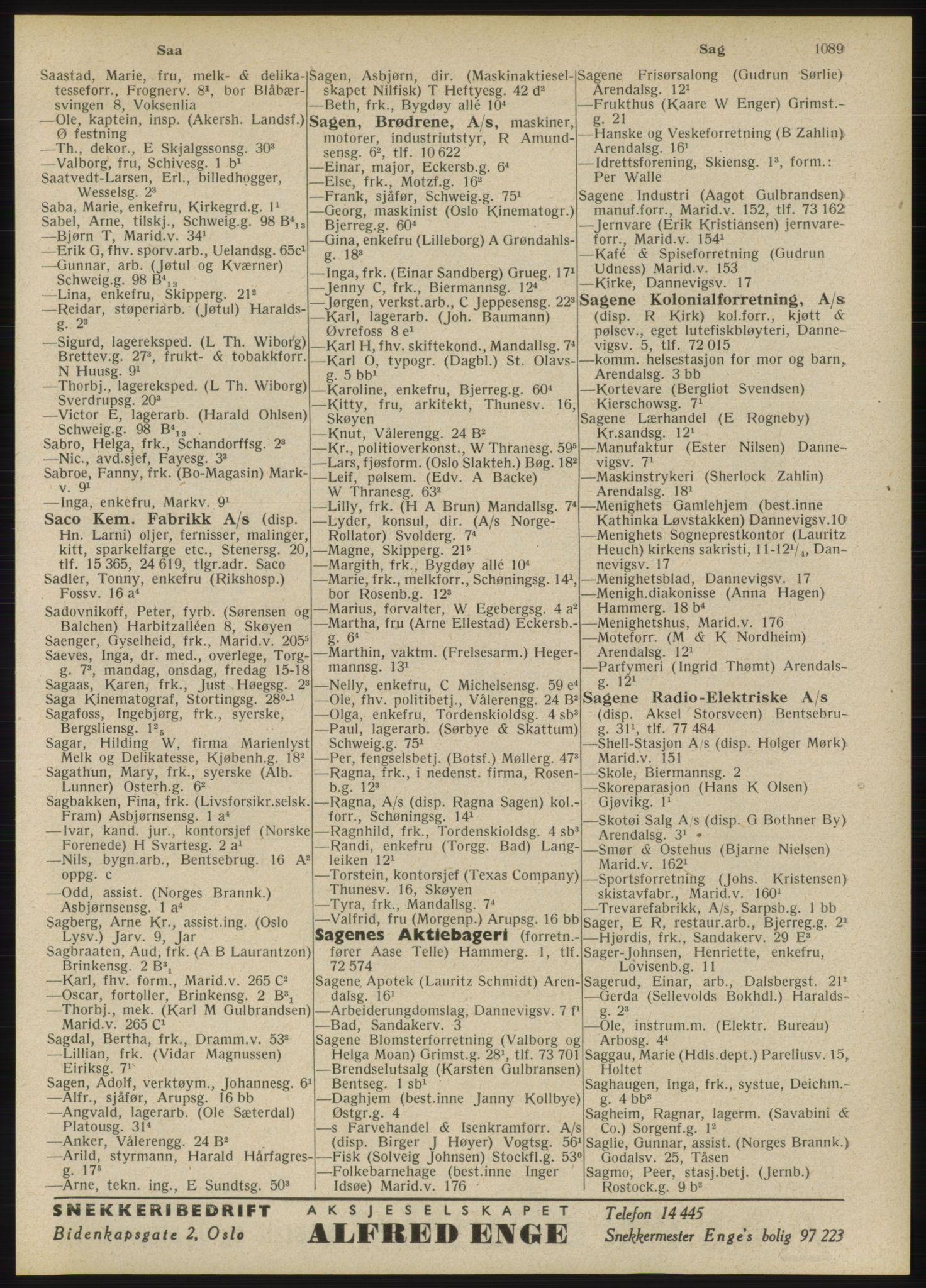 RA, Oslo adressebok (publikasjon)*, 1946, s. 1089