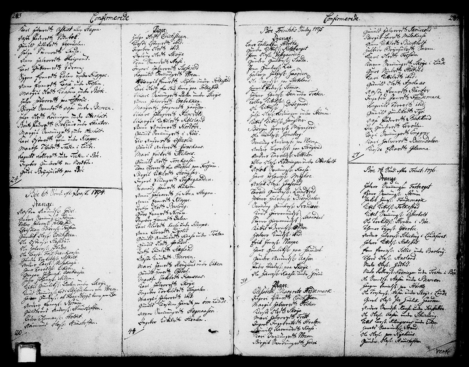 SAKO, Bø kirkebøker, F/Fa/L0005: Ministerialbok nr. 5, 1785-1815, s. 283-284