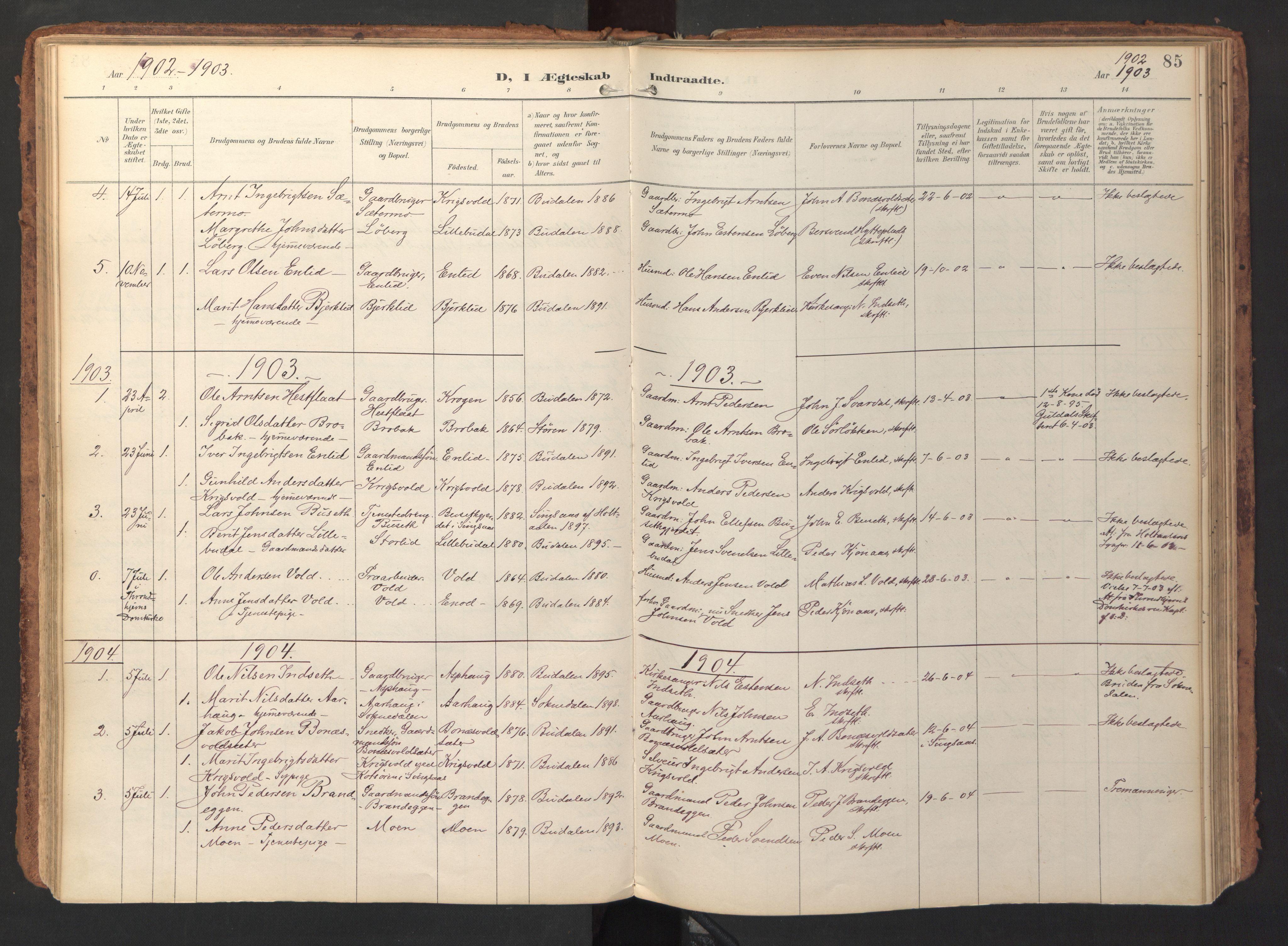 SAT, Ministerialprotokoller, klokkerbøker og fødselsregistre - Sør-Trøndelag, 690/L1050: Ministerialbok nr. 690A01, 1889-1929, s. 85