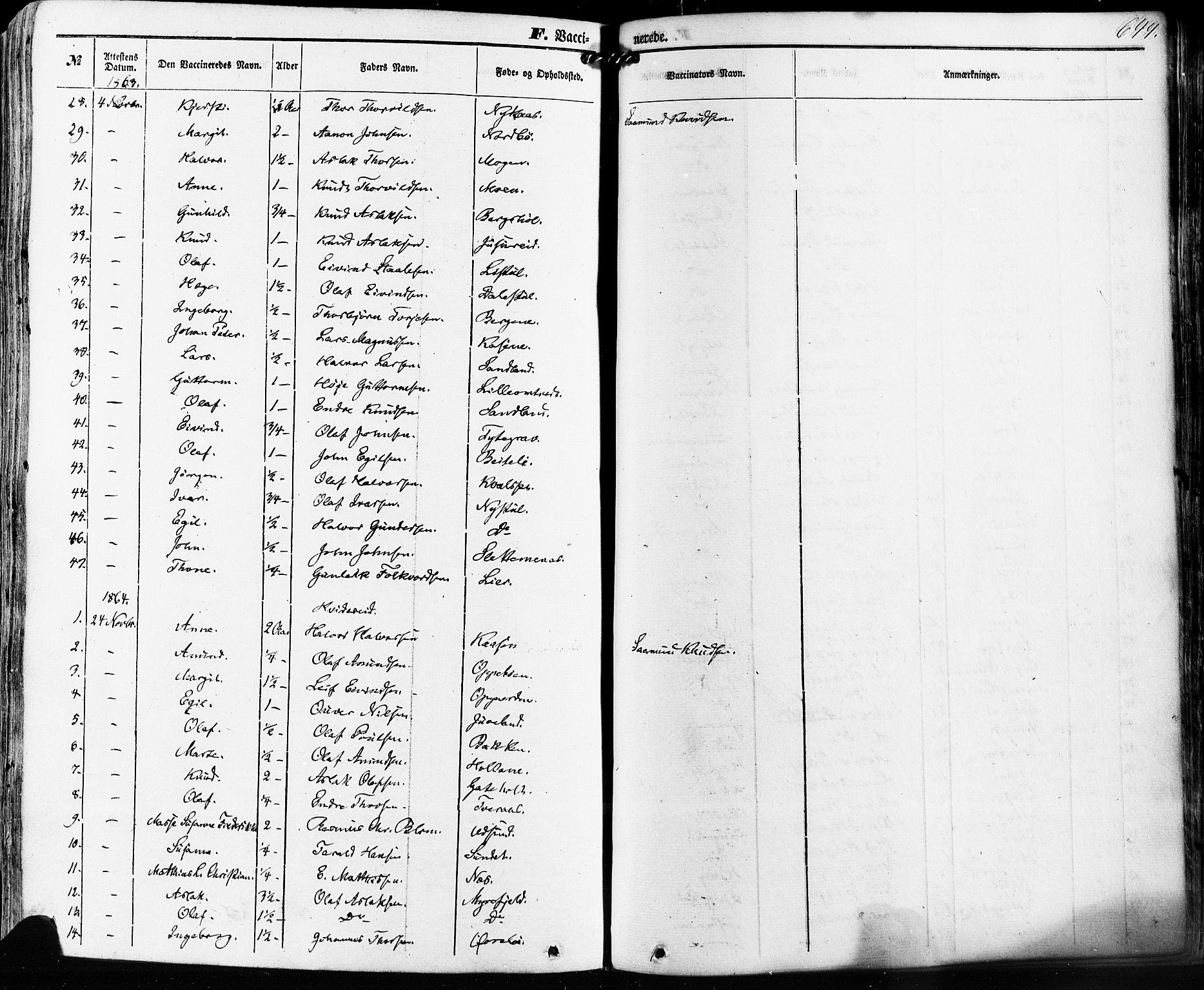 SAKO, Kviteseid kirkebøker, F/Fa/L0007: Ministerialbok nr. I 7, 1859-1881, s. 644