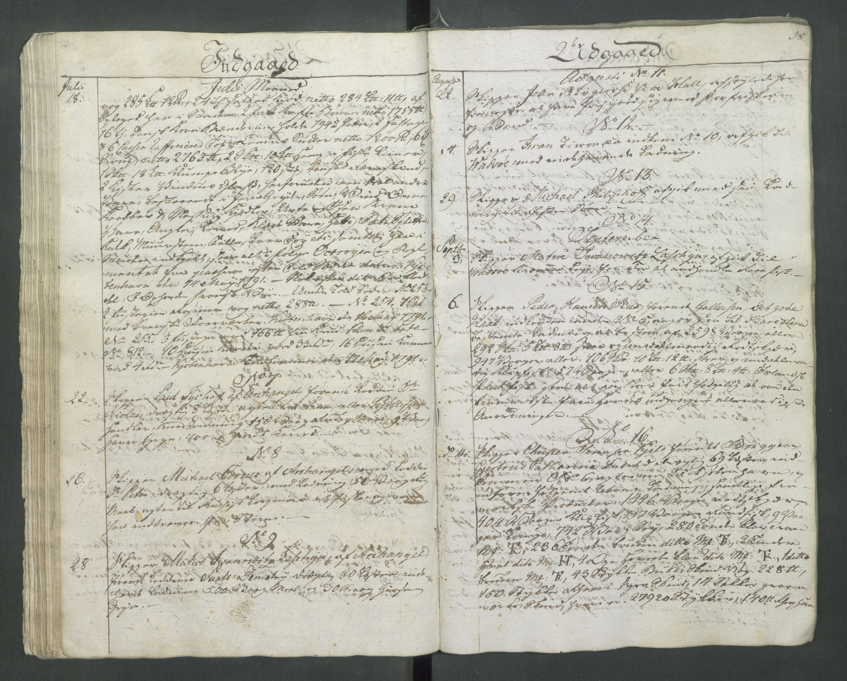 RA, Generaltollkammeret, tollregnskaper, R37/L0001: Tollregnskaper Vardø, 1789-1794, s. 37b-38a