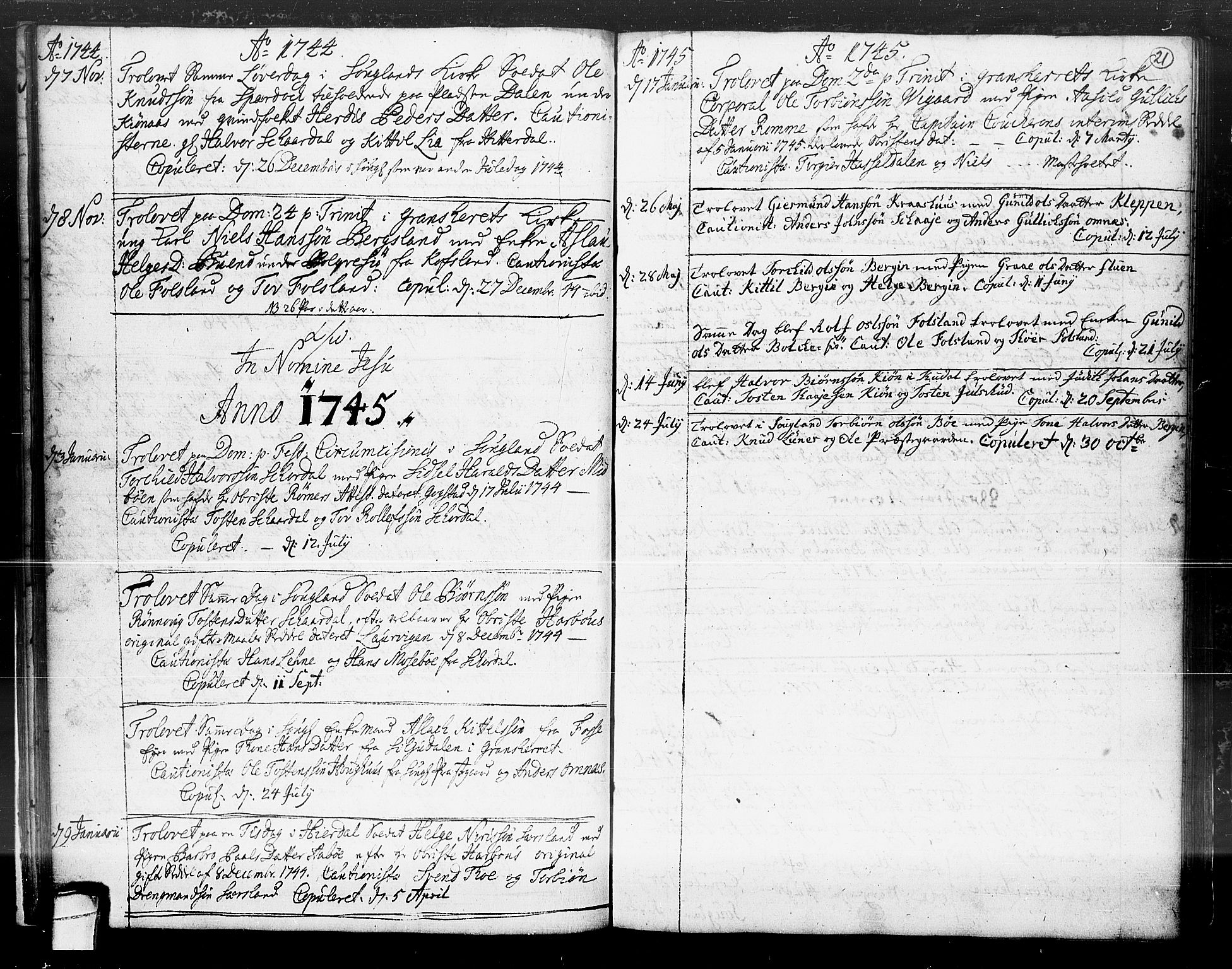 SAKO, Hjartdal kirkebøker, F/Fa/L0004: Ministerialbok nr. I 4, 1727-1795, s. 21