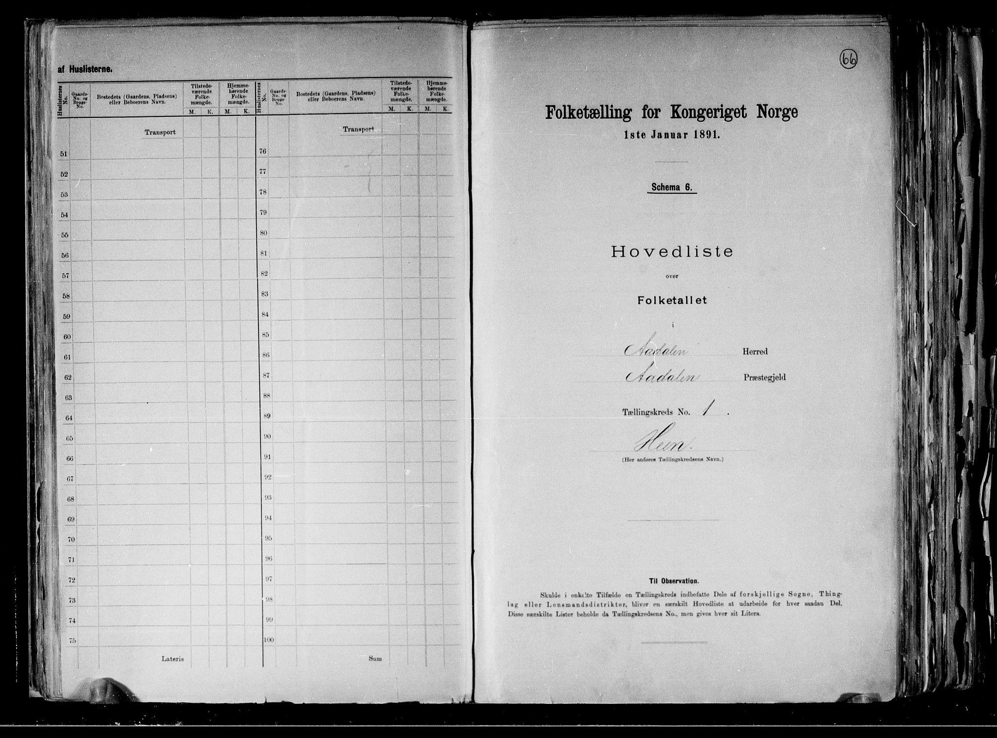 RA, Folketelling 1891 for 0614 Ådal herred, 1891, s. 7