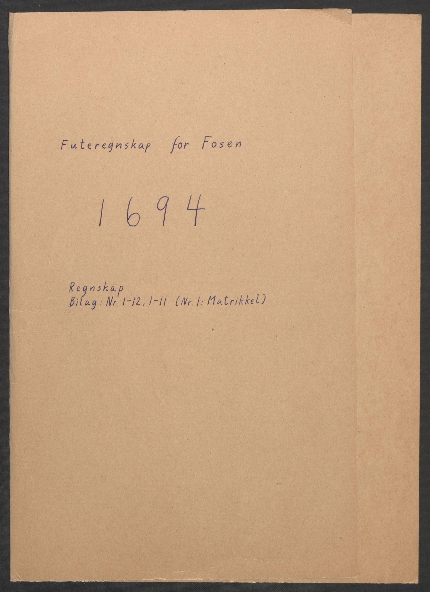 RA, Rentekammeret inntil 1814, Reviderte regnskaper, Fogderegnskap, R57/L3850: Fogderegnskap Fosen, 1694, s. 2