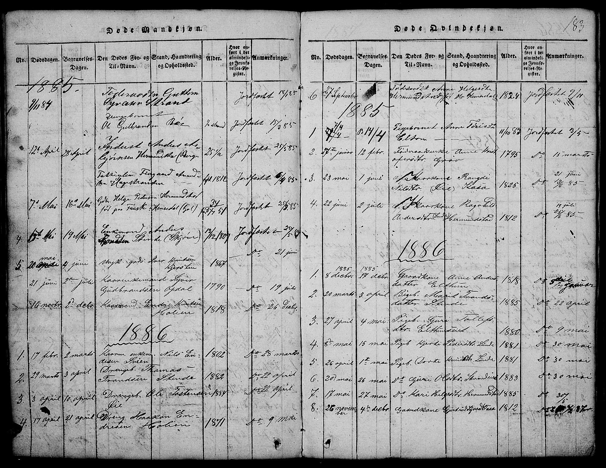 SAH, Vang prestekontor, Valdres, Klokkerbok nr. 2, 1814-1889, s. 183