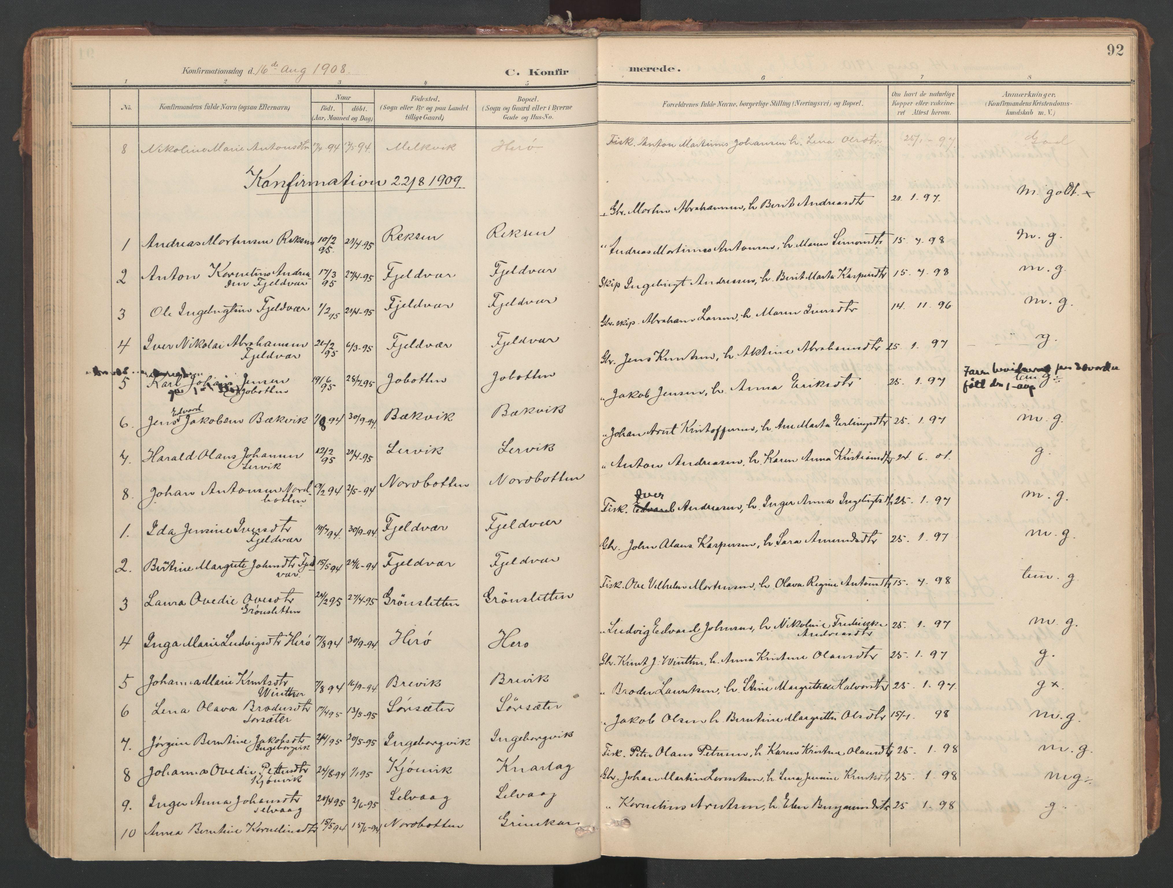 SAT, Ministerialprotokoller, klokkerbøker og fødselsregistre - Sør-Trøndelag, 638/L0568: Ministerialbok nr. 638A01, 1901-1916, s. 92
