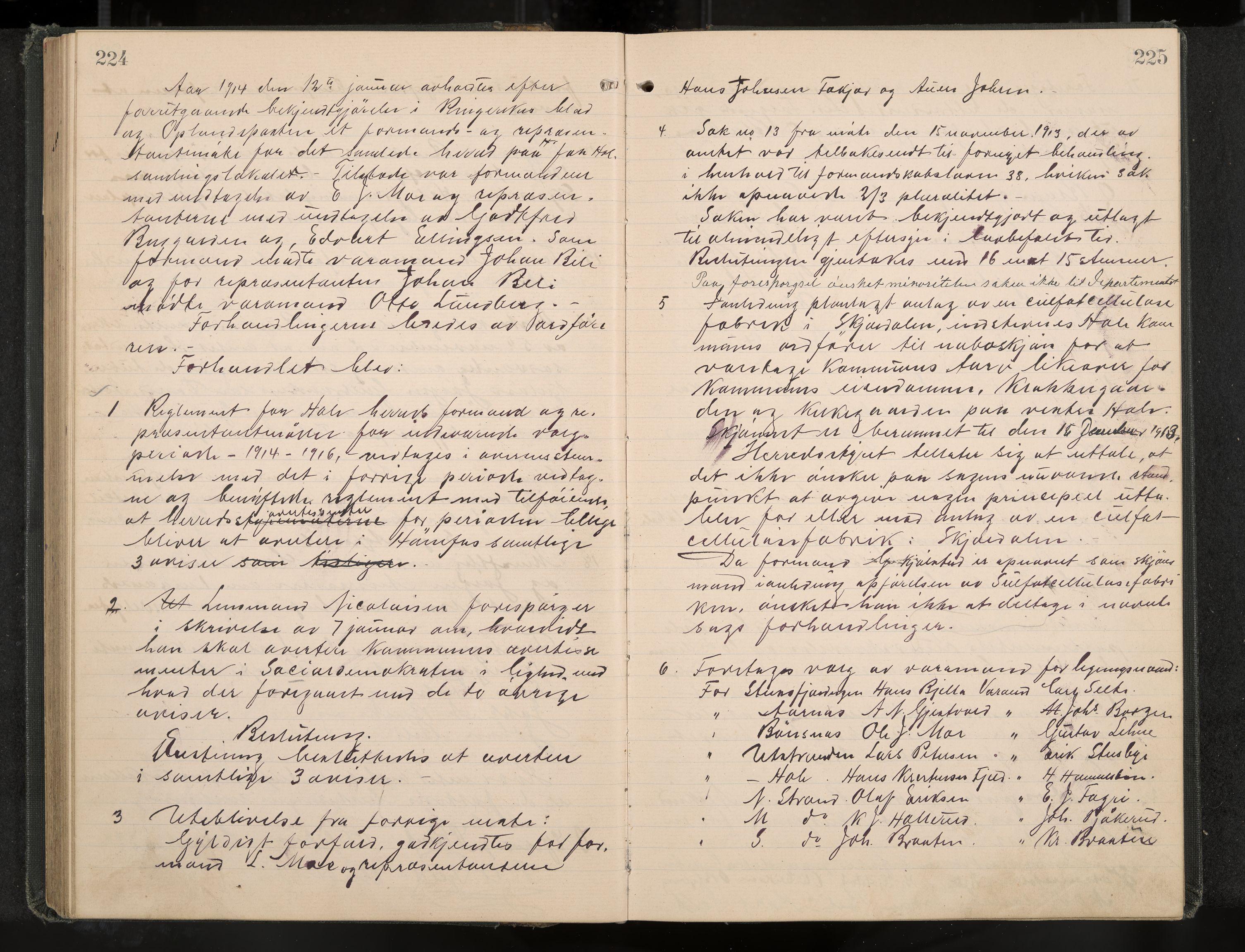 IKAK, Hole formannskap og sentraladministrasjon, A/Aa/L0006: Møtebok, 1911-1916, s. 224-225