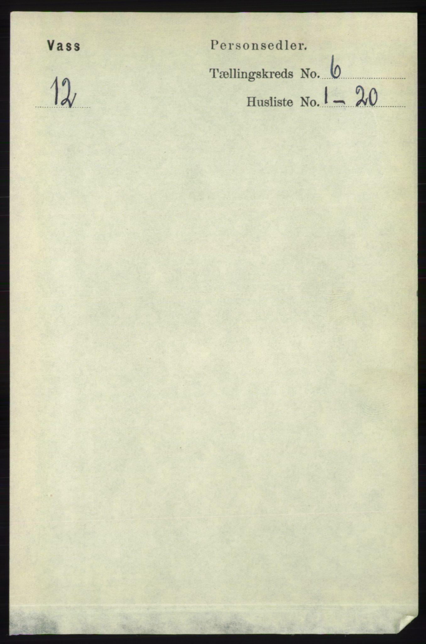 RA, Folketelling 1891 for 1155 Vats herred, 1891, s. 947