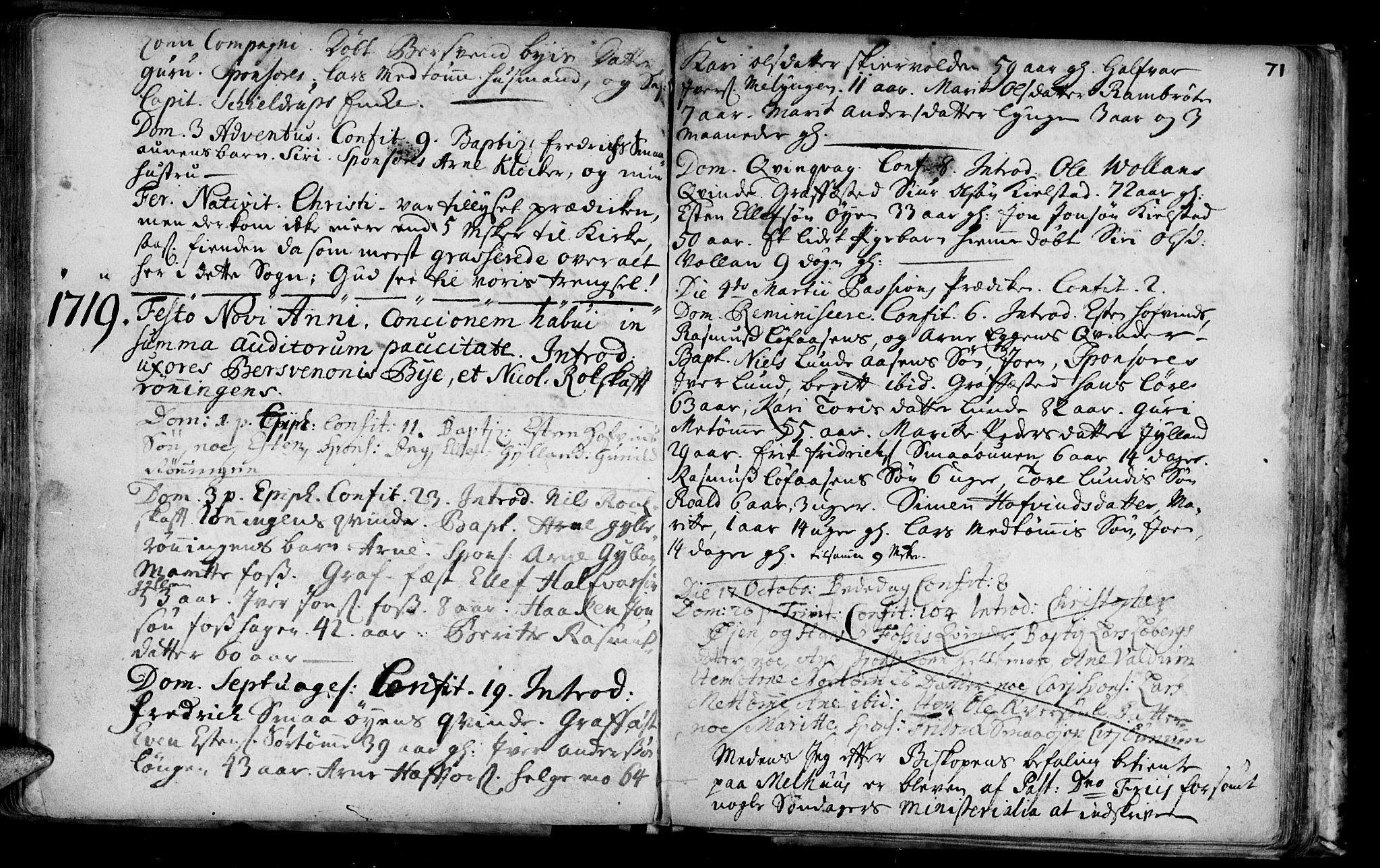 SAT, Ministerialprotokoller, klokkerbøker og fødselsregistre - Sør-Trøndelag, 692/L1101: Ministerialbok nr. 692A01, 1690-1746, s. 71