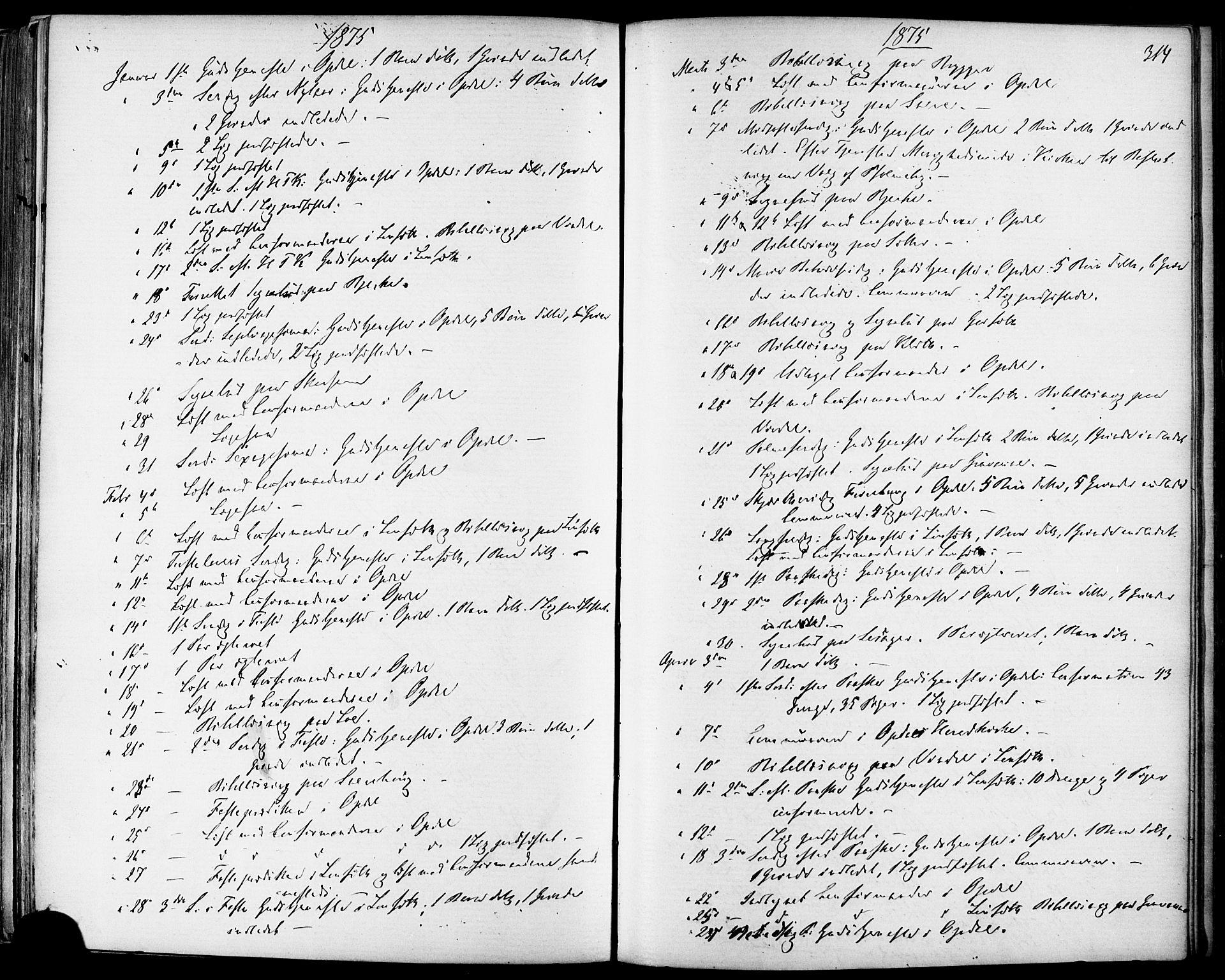SAT, Ministerialprotokoller, klokkerbøker og fødselsregistre - Sør-Trøndelag, 678/L0900: Ministerialbok nr. 678A09, 1872-1881, s. 314