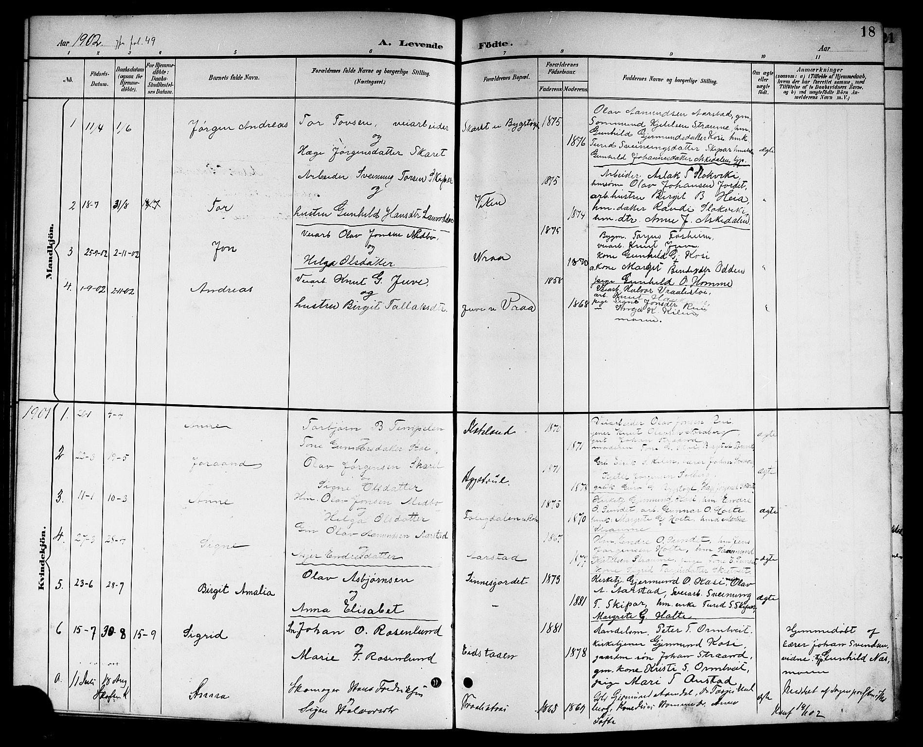 SAKO, Kviteseid kirkebøker, G/Gc/L0001: Klokkerbok nr. III 1, 1893-1916, s. 18