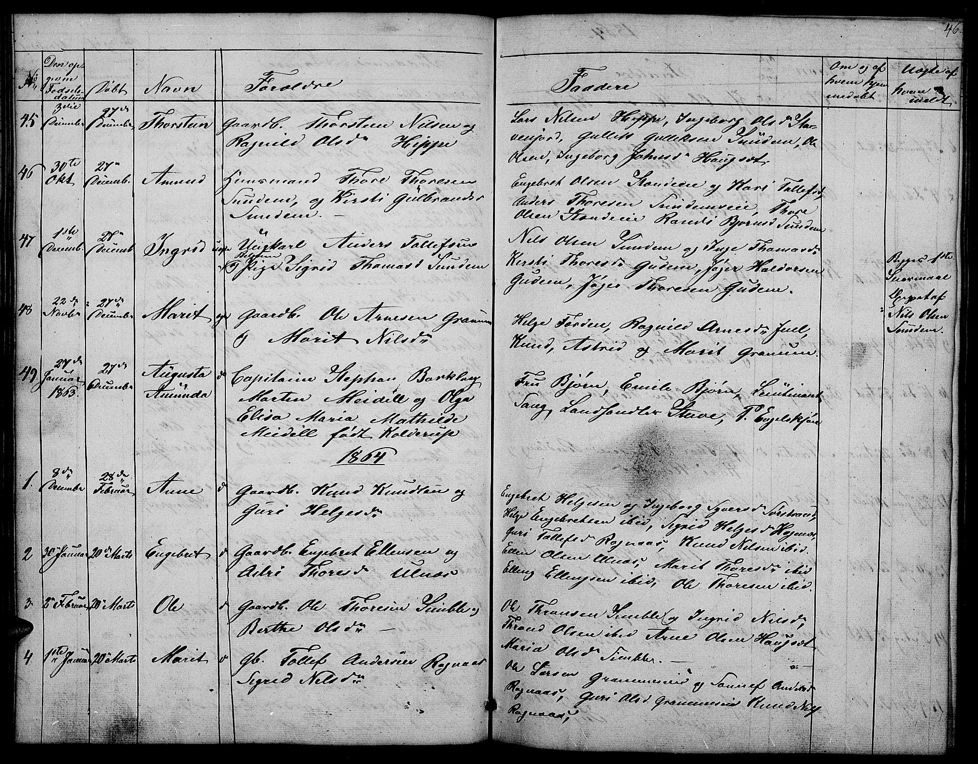 SAH, Nord-Aurdal prestekontor, Klokkerbok nr. 4, 1842-1882, s. 46