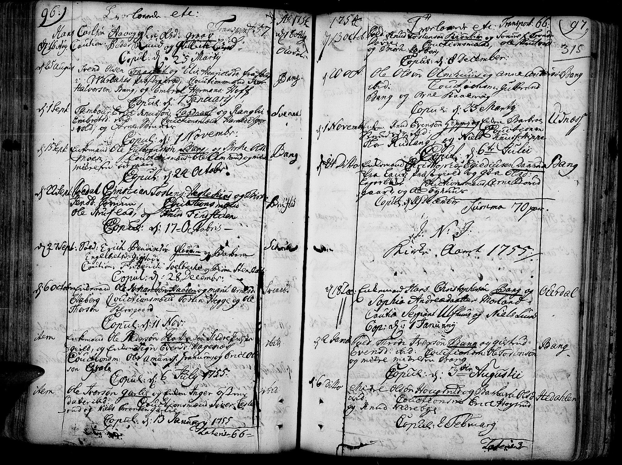 SAH, Aurdal prestekontor, Ministerialbok nr. 4, 1730-1762, s. 96-97