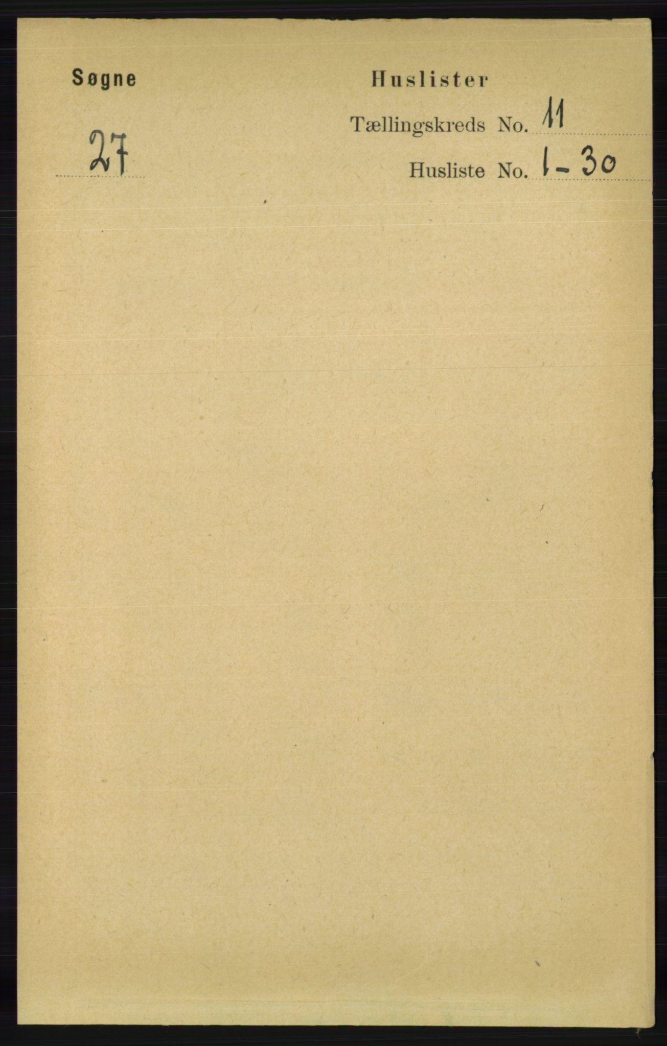 RA, Folketelling 1891 for 1018 Søgne herred, 1891, s. 2889