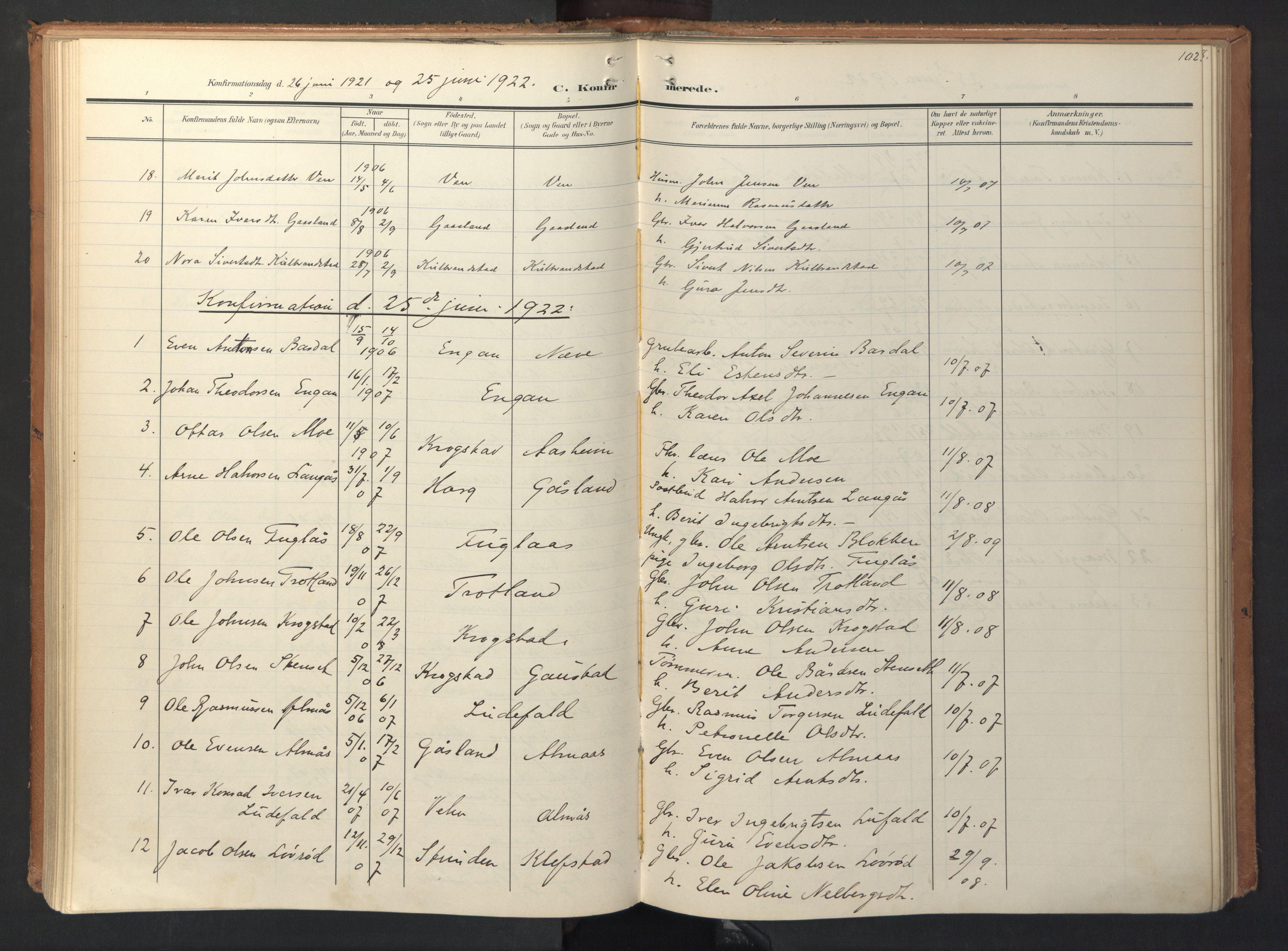 SAT, Ministerialprotokoller, klokkerbøker og fødselsregistre - Sør-Trøndelag, 694/L1128: Ministerialbok nr. 694A02, 1906-1931, s. 102