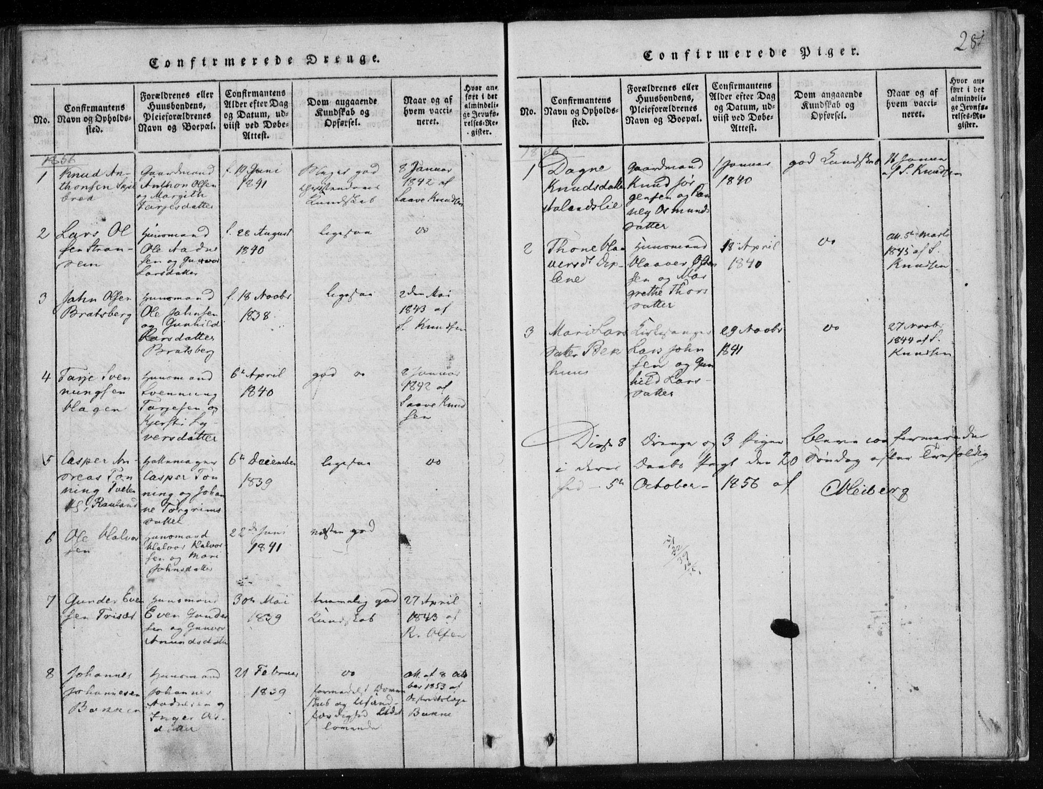 SAKO, Lårdal kirkebøker, F/Fa/L0005: Ministerialbok nr. I 5, 1815-1860, s. 281