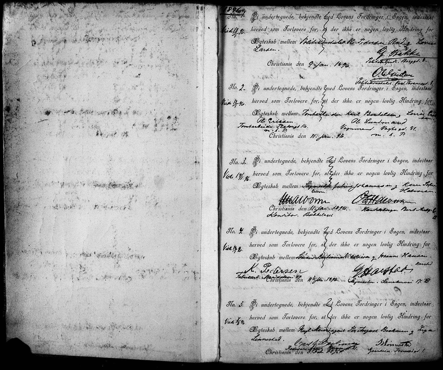 SAO, Jakob prestekontor Kirkebøker, L/La/L0001: Forlovererklæringer nr. 1, 1896-1916