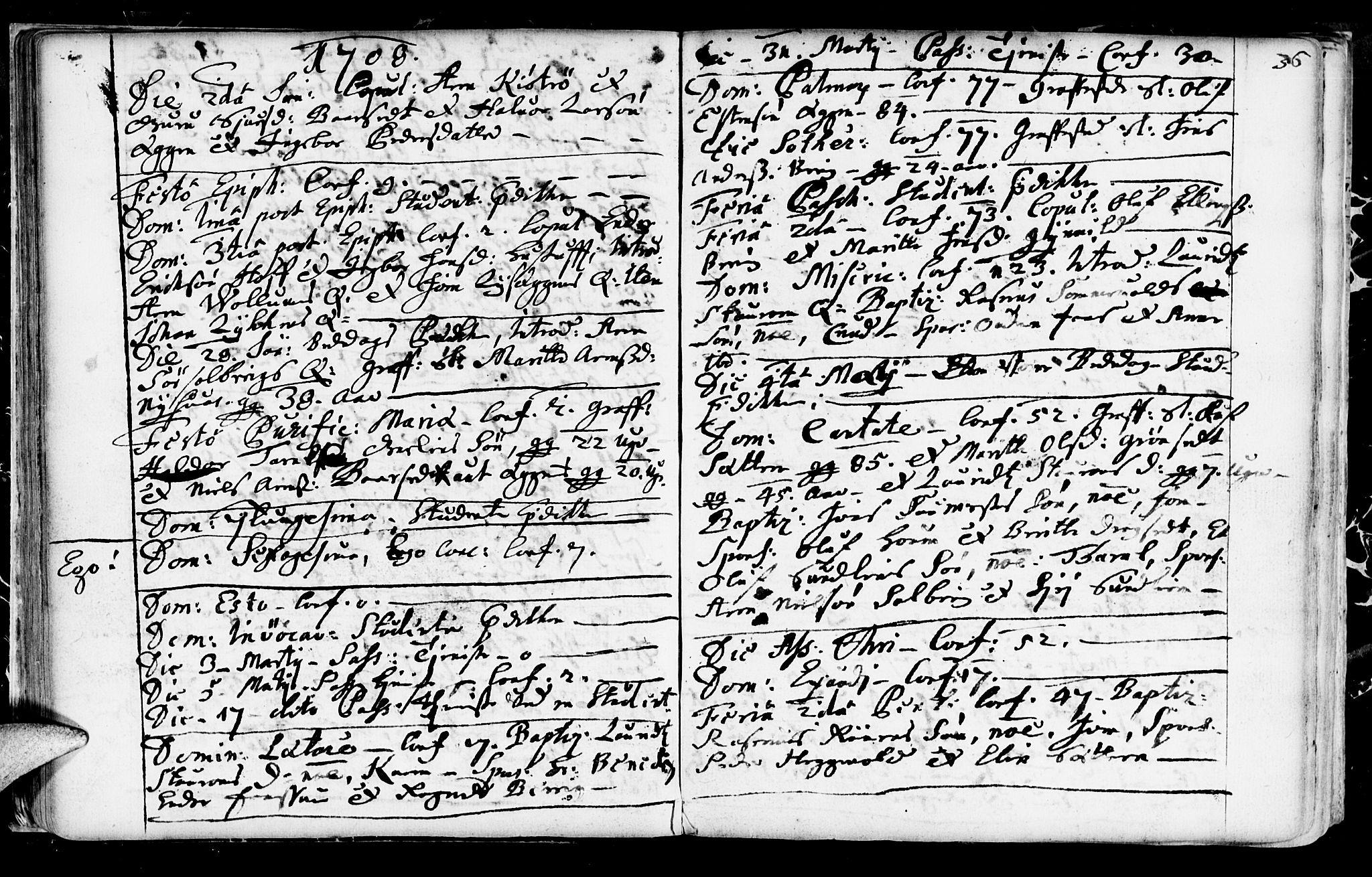SAT, Ministerialprotokoller, klokkerbøker og fødselsregistre - Sør-Trøndelag, 689/L1036: Ministerialbok nr. 689A01, 1696-1746, s. 36