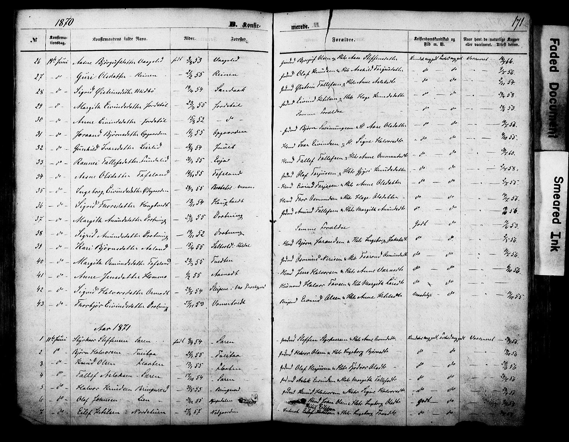 SAKO, Vinje kirkebøker, F/Fa/L0005: Ministerialbok nr. I 5, 1870-1886, s. 171