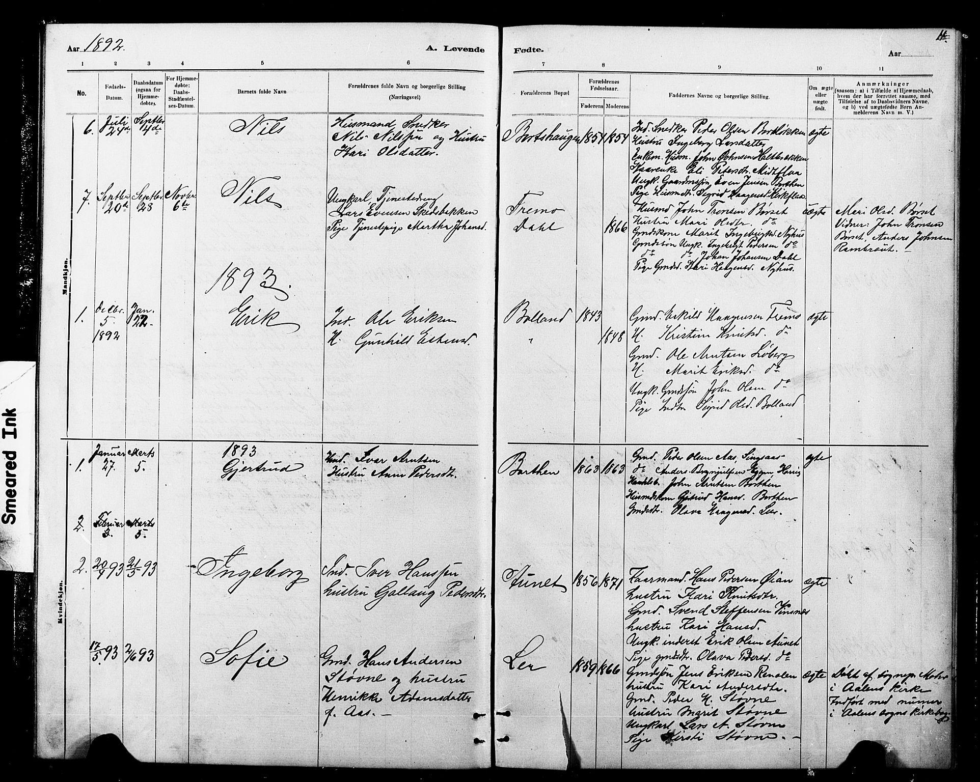 SAT, Ministerialprotokoller, klokkerbøker og fødselsregistre - Sør-Trøndelag, 693/L1123: Klokkerbok nr. 693C04, 1887-1910, s. 11