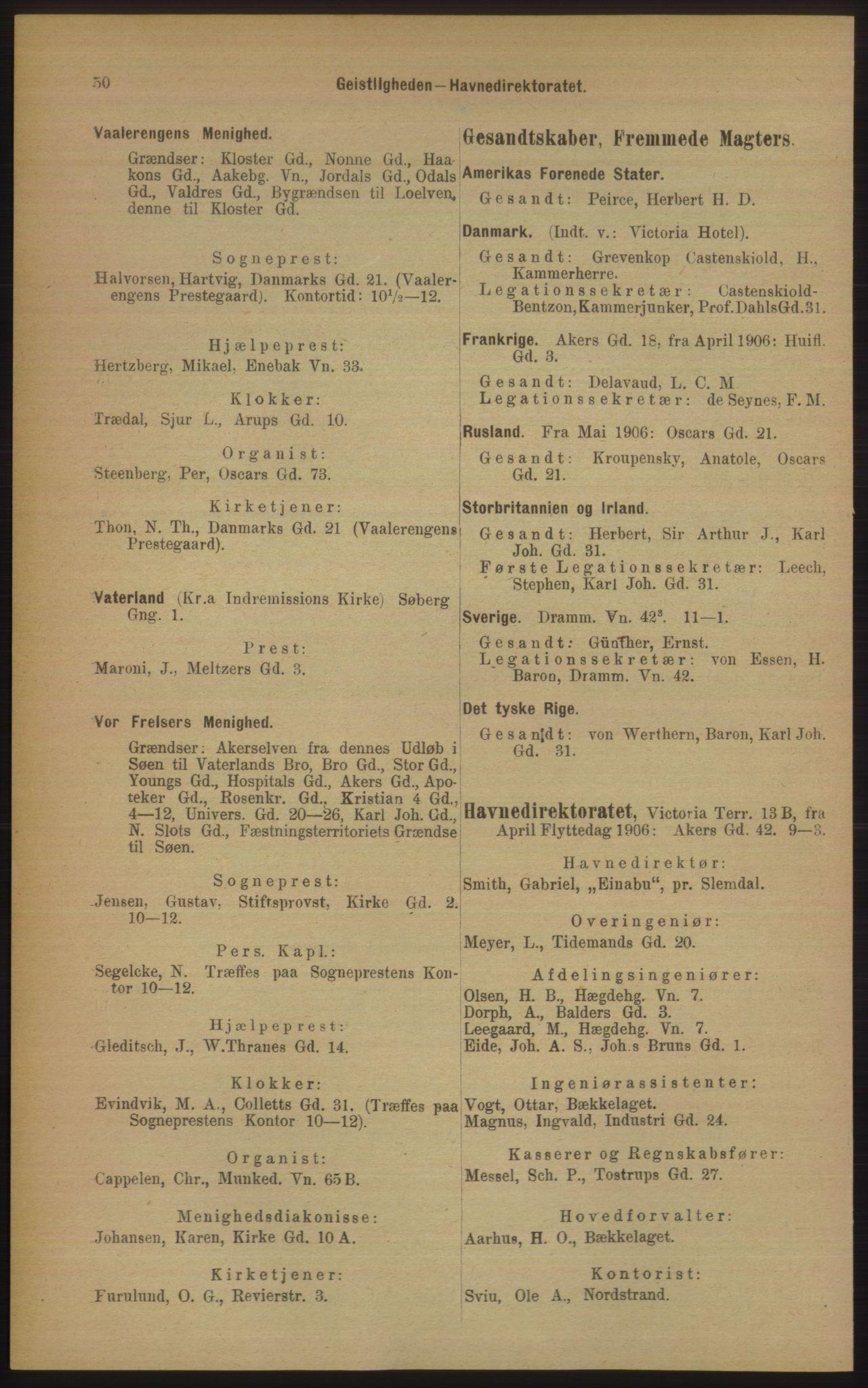 RA, Kristiania adressebok (publikasjon)*, 1906, s. 50