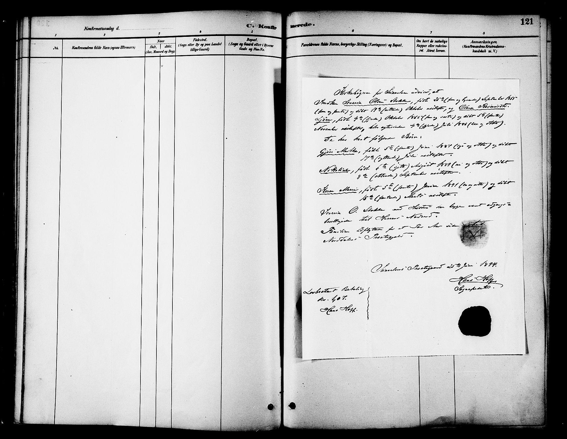 SAT, Ministerialprotokoller, klokkerbøker og fødselsregistre - Møre og Romsdal, 519/L0255: Ministerialbok nr. 519A14, 1884-1908, s. 121