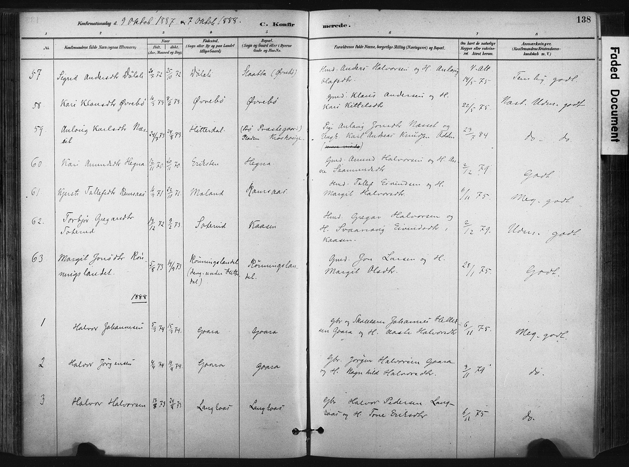 SAKO, Bø kirkebøker, F/Fa/L0010: Ministerialbok nr. 10, 1880-1892, s. 138