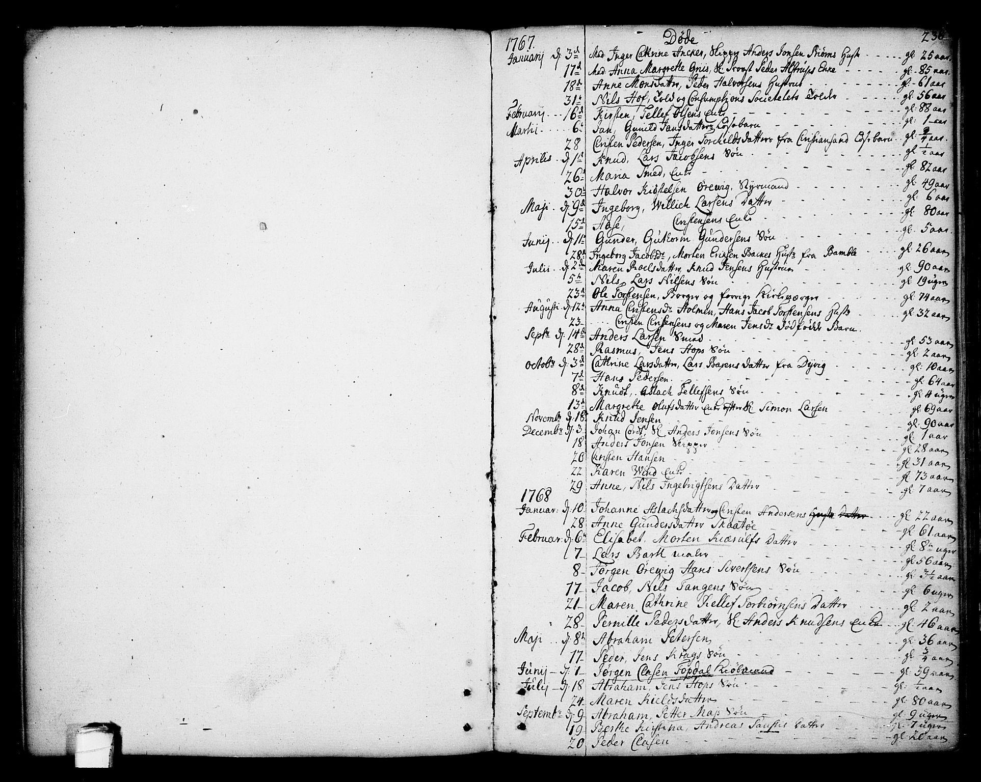 SAKO, Kragerø kirkebøker, F/Fa/L0002: Ministerialbok nr. 2, 1767-1802, s. 236