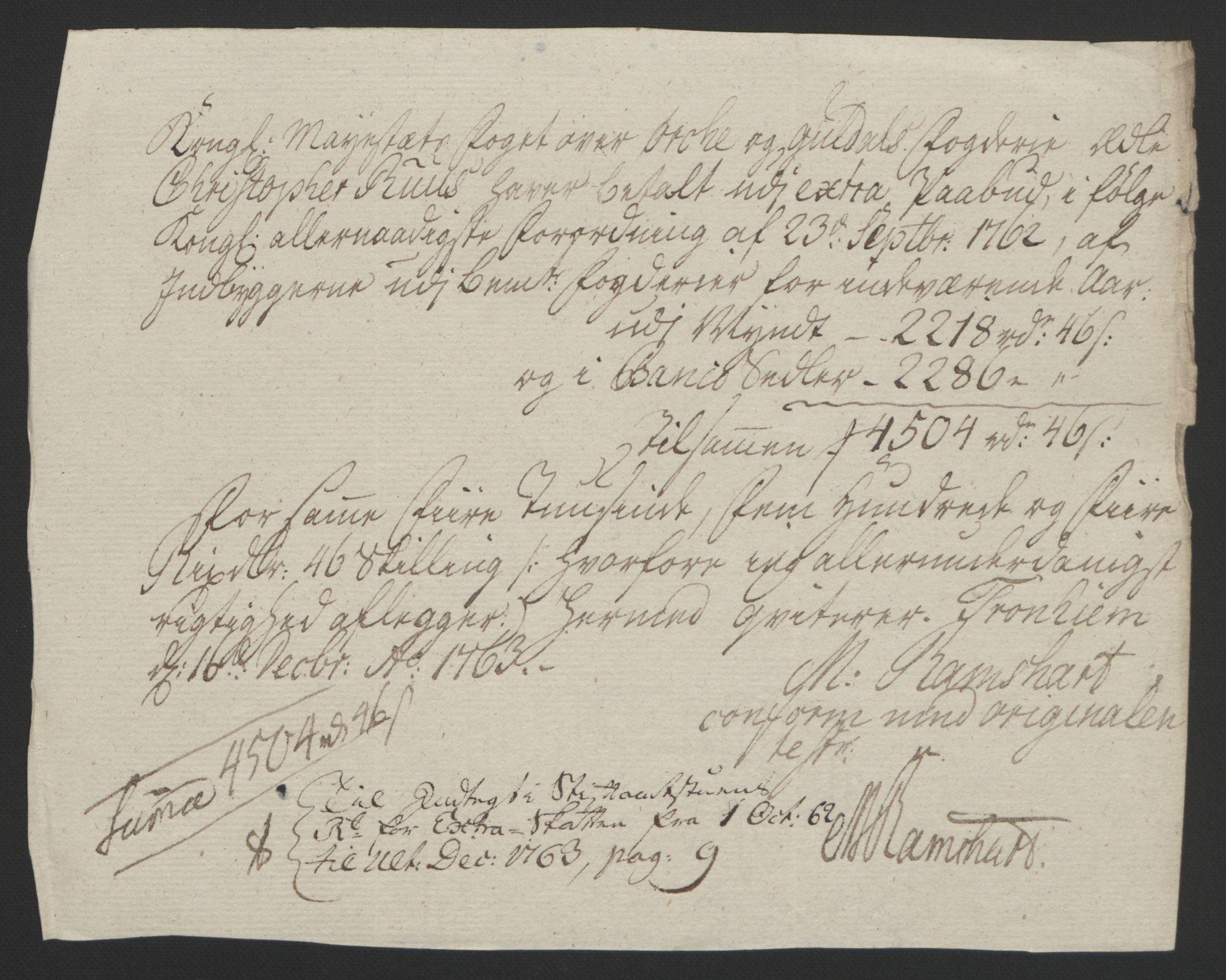 RA, Rentekammeret inntil 1814, Reviderte regnskaper, Fogderegnskap, R60/L4094: Ekstraskatten Orkdal og Gauldal, 1762-1765, s. 106