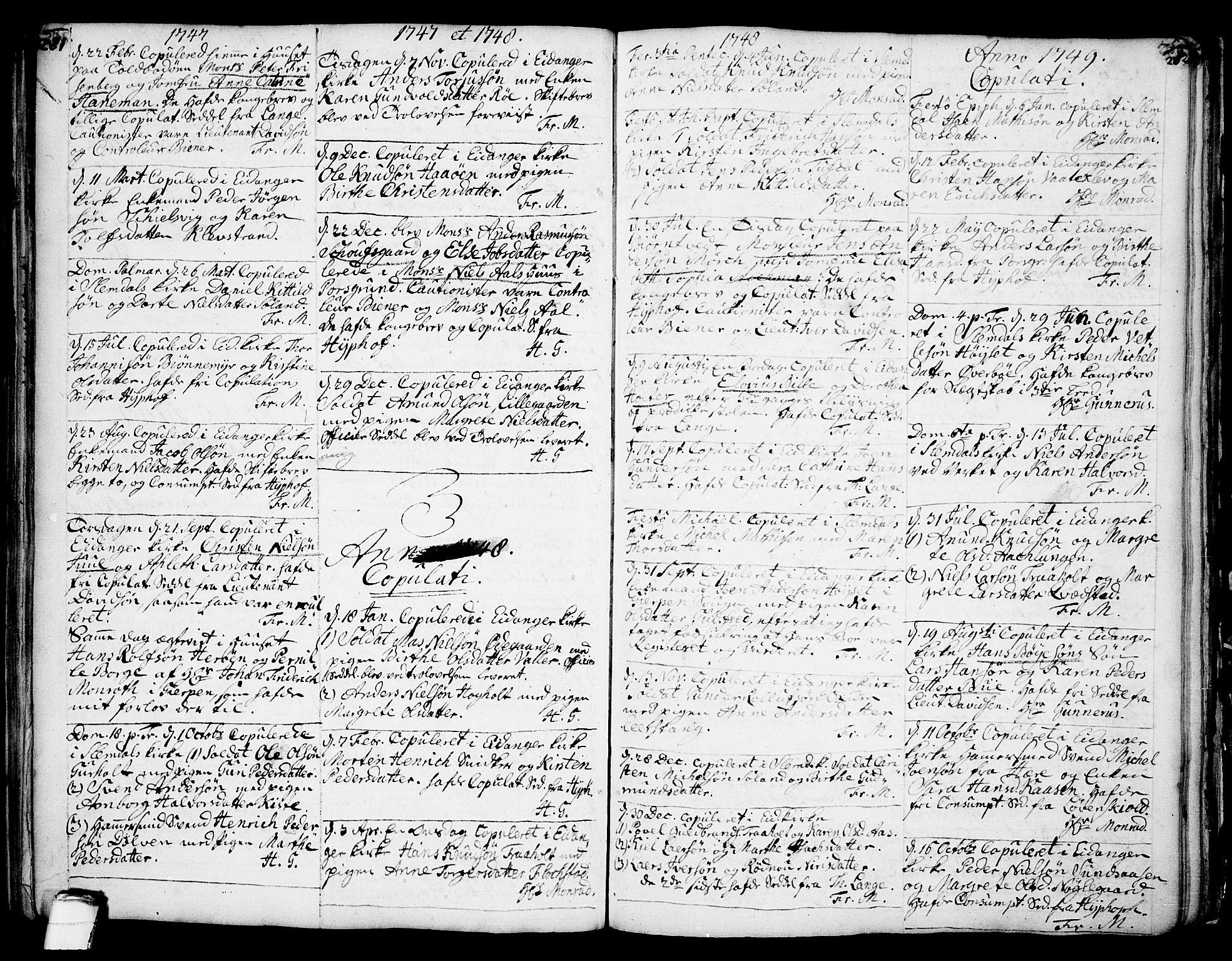 SAKO, Eidanger kirkebøker, F/Fa/L0004: Ministerialbok nr. 4, 1733-1759, s. 281-282