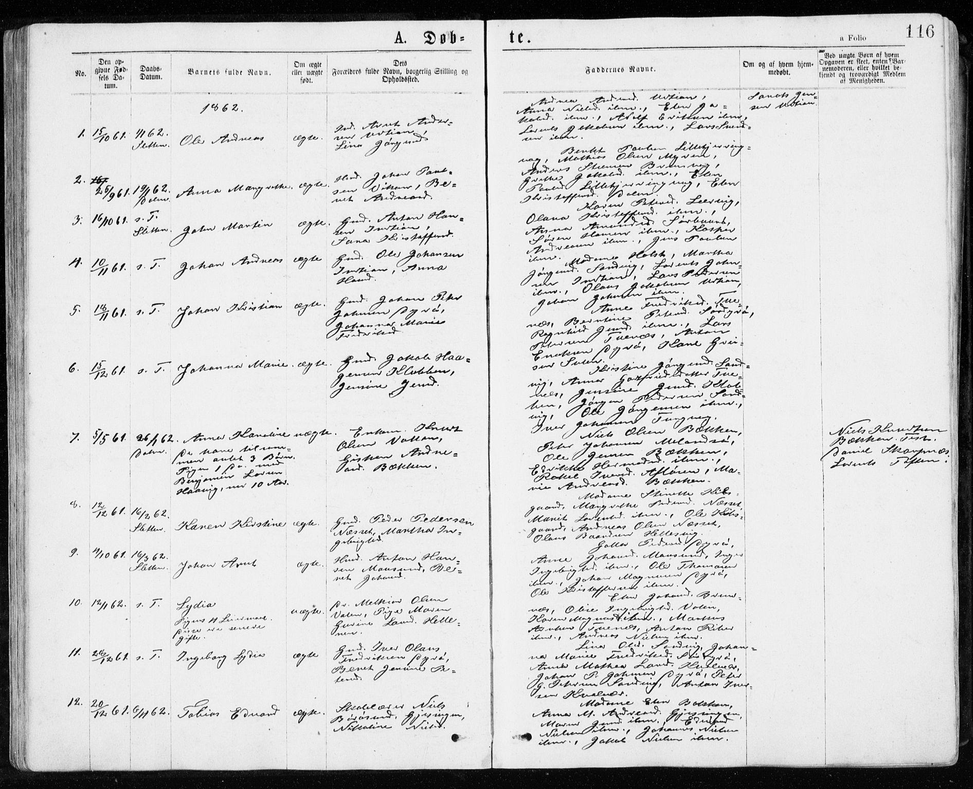SAT, Ministerialprotokoller, klokkerbøker og fødselsregistre - Sør-Trøndelag, 640/L0576: Ministerialbok nr. 640A01, 1846-1876, s. 116