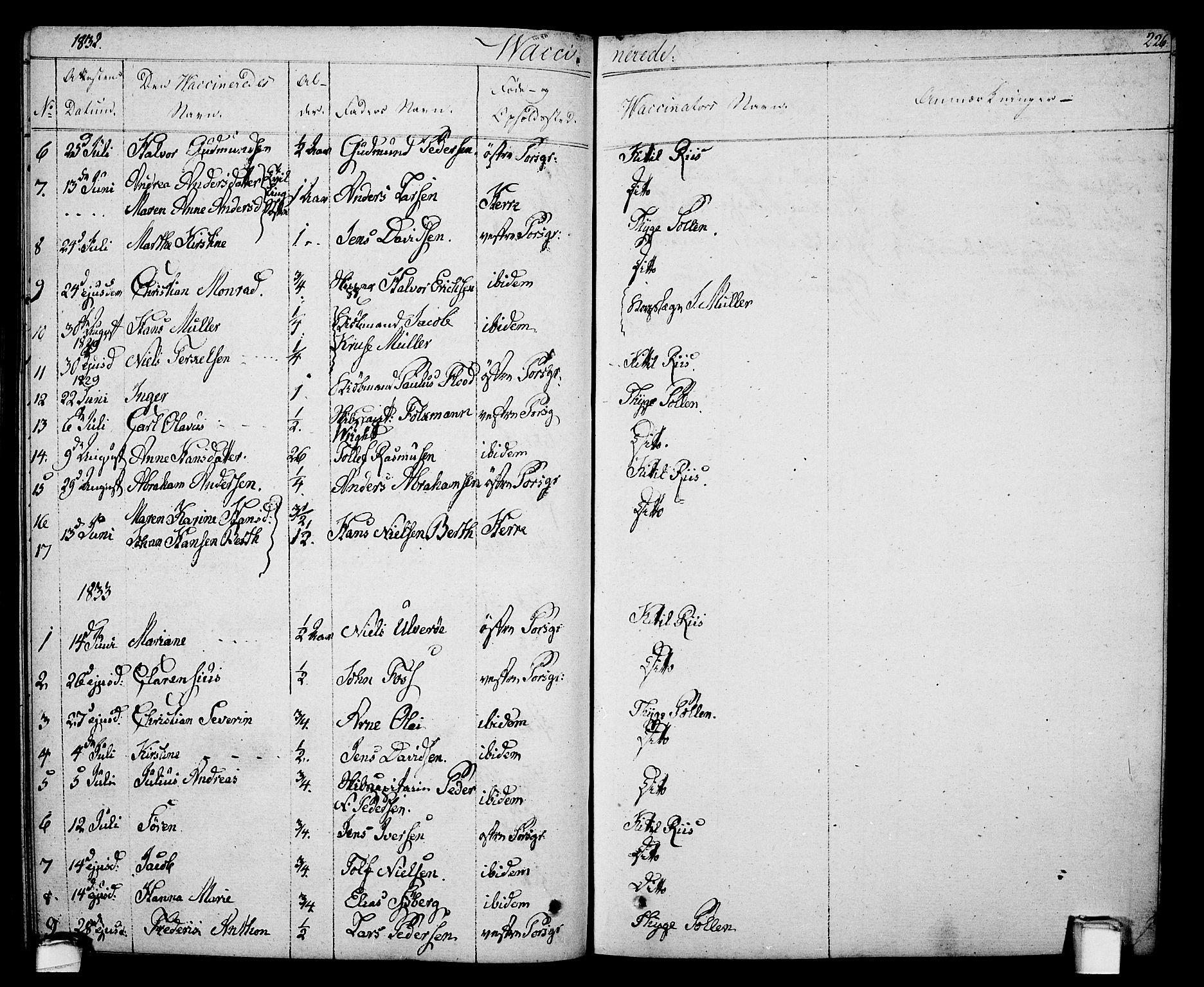 SAKO, Porsgrunn kirkebøker , F/Fa/L0005: Ministerialbok nr. 5, 1828-1840, s. 226