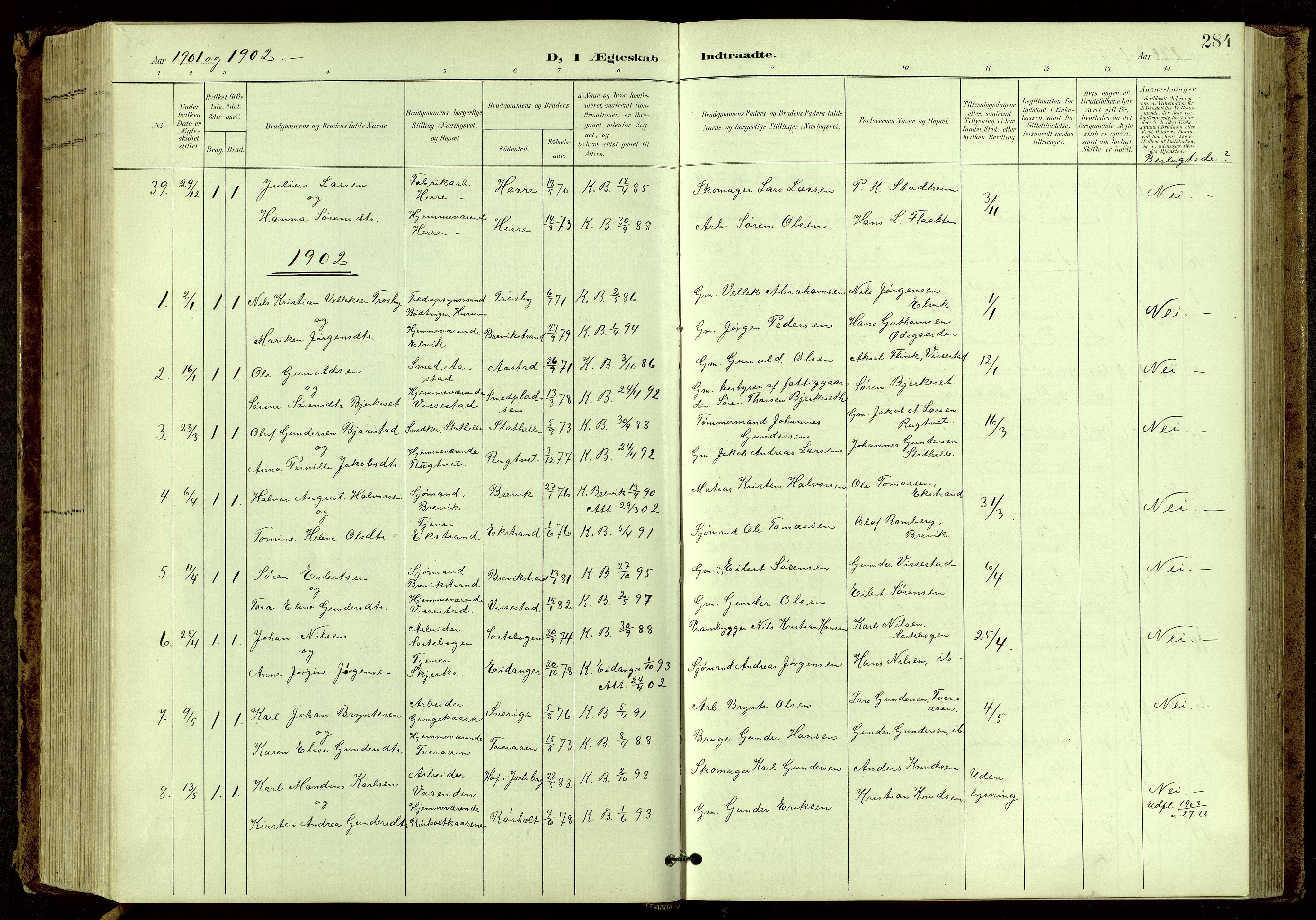 SAKO, Bamble kirkebøker, G/Ga/L0010: Klokkerbok nr. I 10, 1901-1919, s. 284