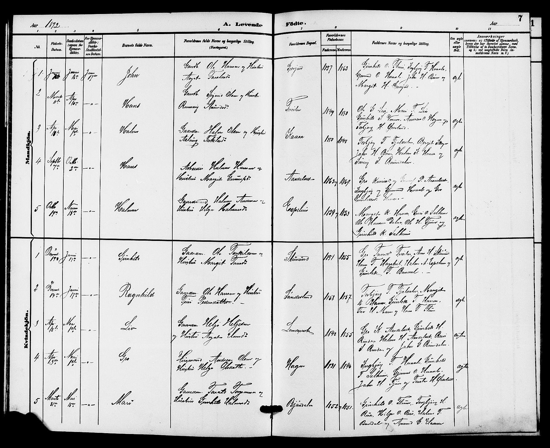 SAKO, Hjartdal kirkebøker, G/Gc/L0003: Klokkerbok nr. III 3, 1890-1907, s. 7