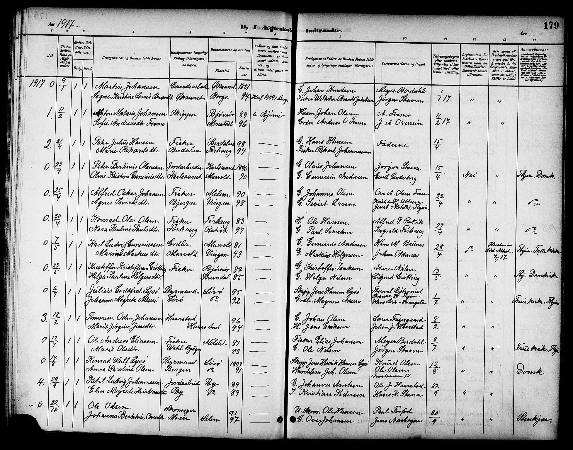 SAT, Ministerialprotokoller, klokkerbøker og fødselsregistre - Sør-Trøndelag, 655/L0688: Klokkerbok nr. 655C04, 1899-1922, s. 179